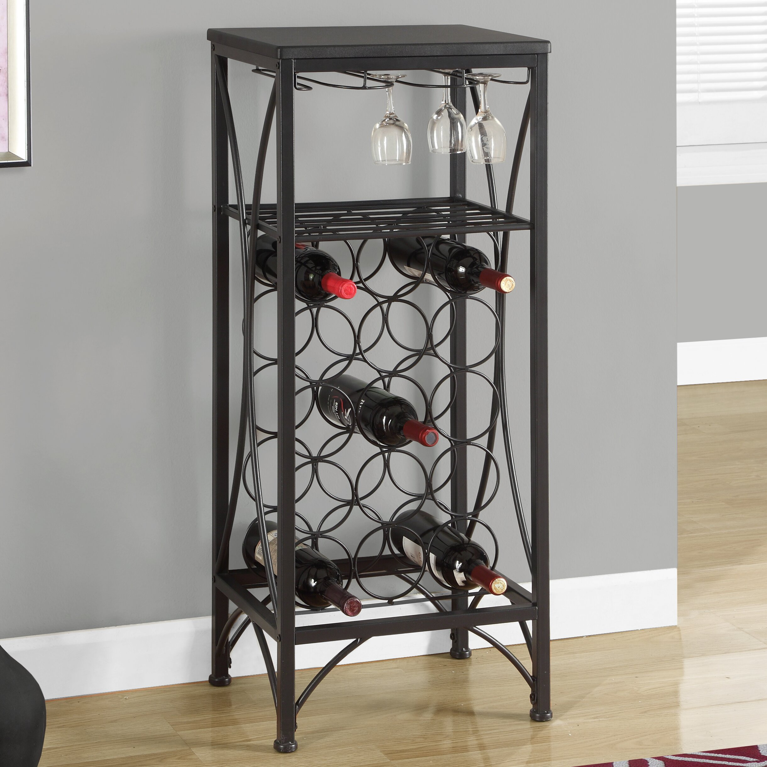 Monarch specialties inc 15 bottle floor wine rack for Floor wine rack