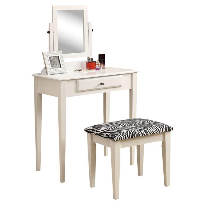 Monarch Specialties Inc Vanity Set With Mirror Amp Zebra