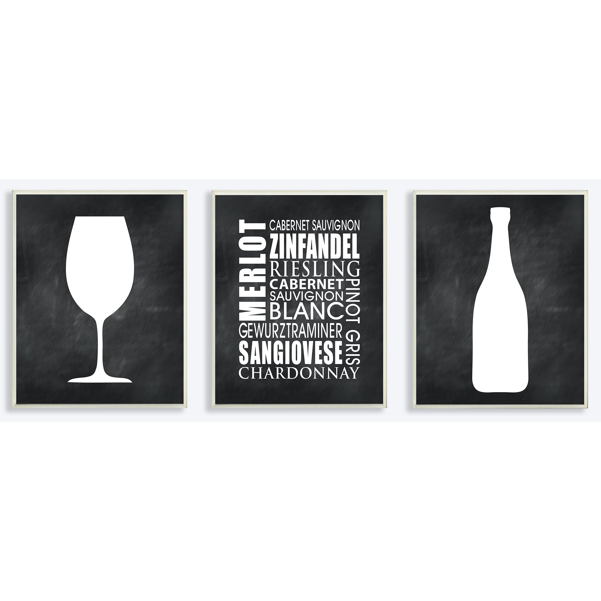 Black And White Wine Wall Decor : Stupell industries wine glass bottle and typography