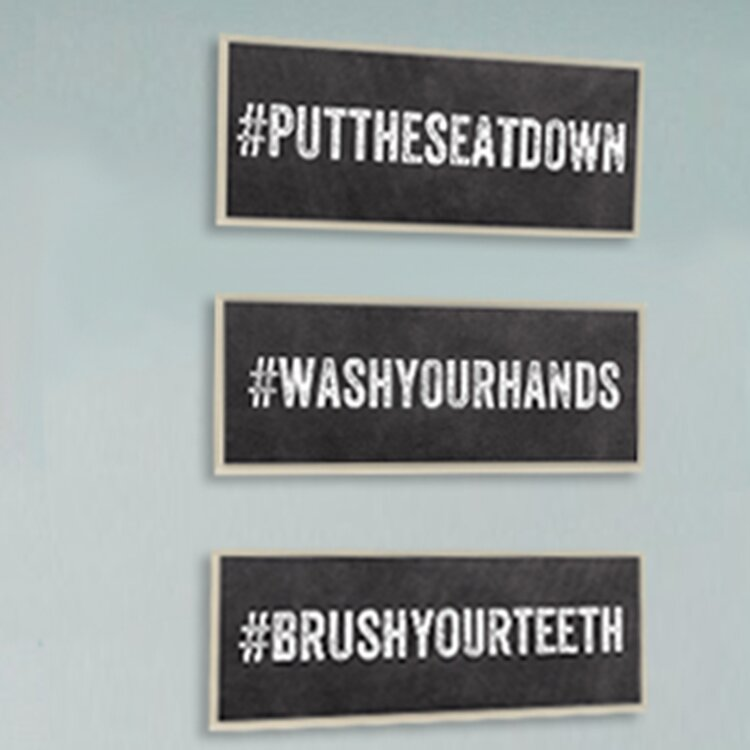 Stupell industries put the seat down hashtag bathroom wall for Bathroom decor hashtags
