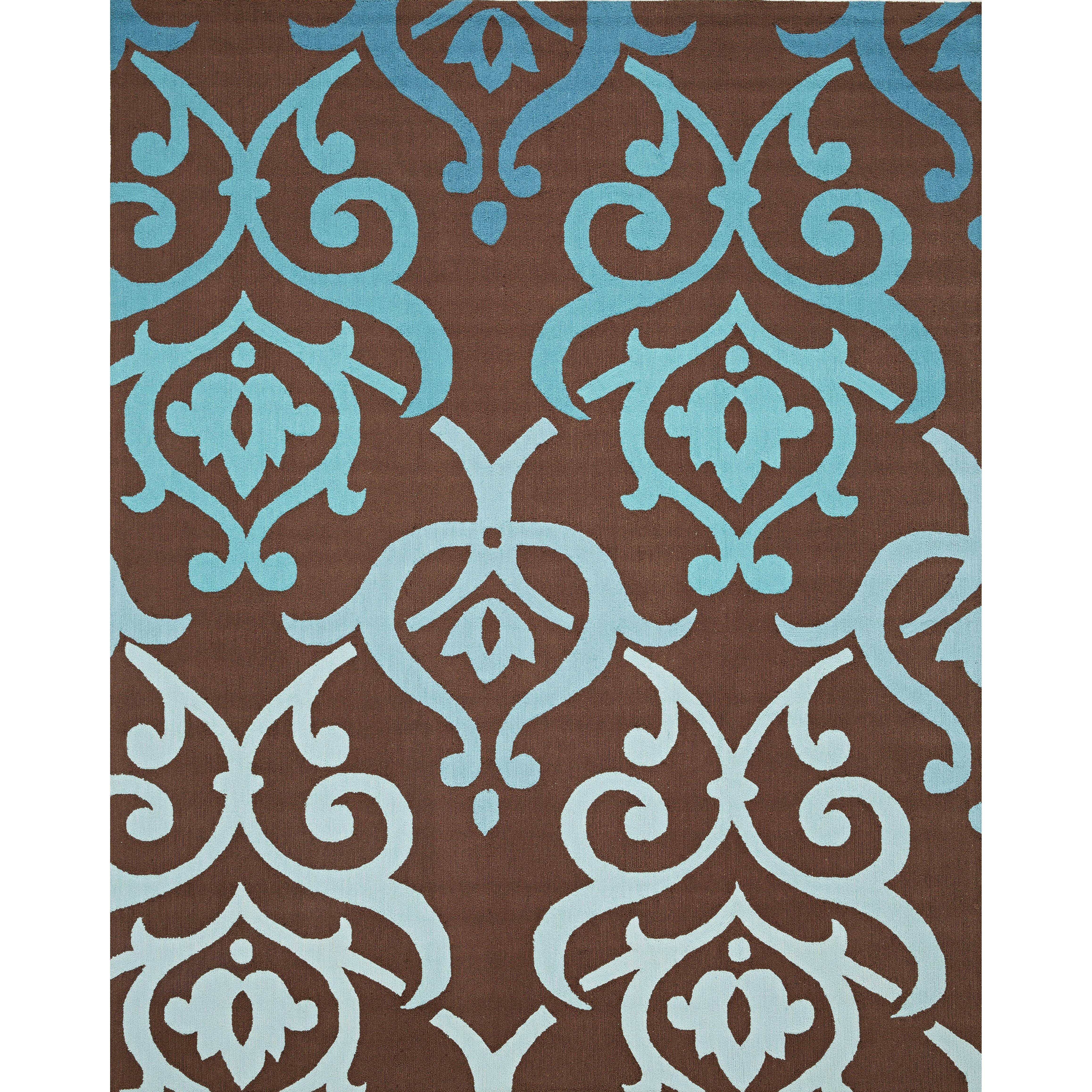 InnerSpace Luxury Products Cosette Fleur De Lis Brown/Blue Rug