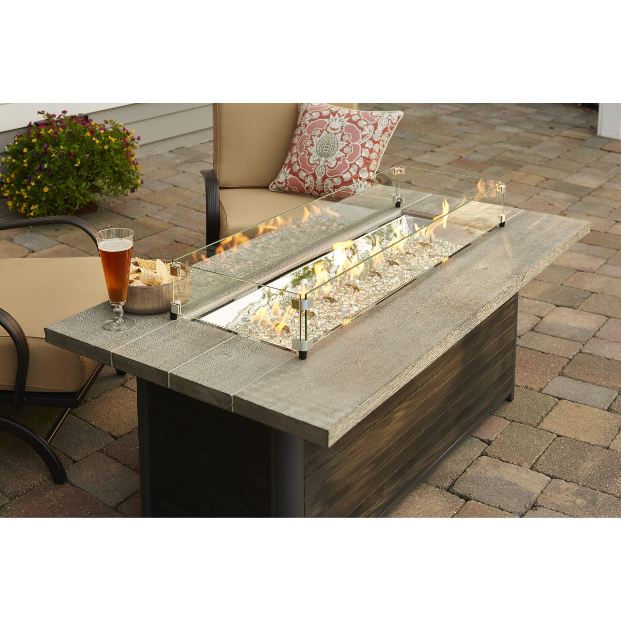 the outdoor greatroom company cedar ridge gas fire pit table wayfair
