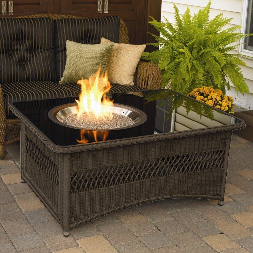 The Outdoor GreatRoom Company Naples Coffee Table with Fire Pit - The Outdoor GreatRoom Company Naples Coffee Table With Fire Pit