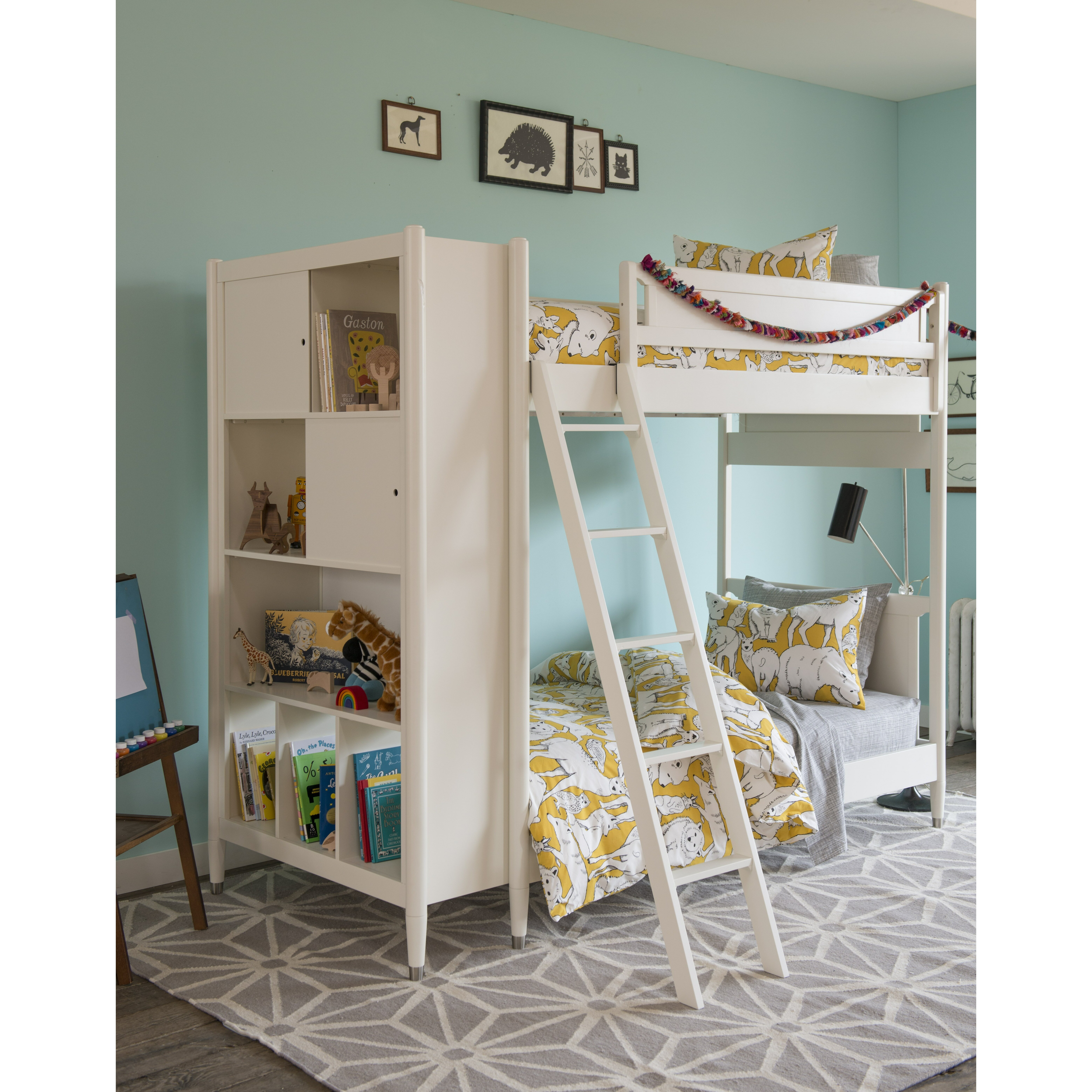 Mid Century Youth White Bunk Bed With Trundle