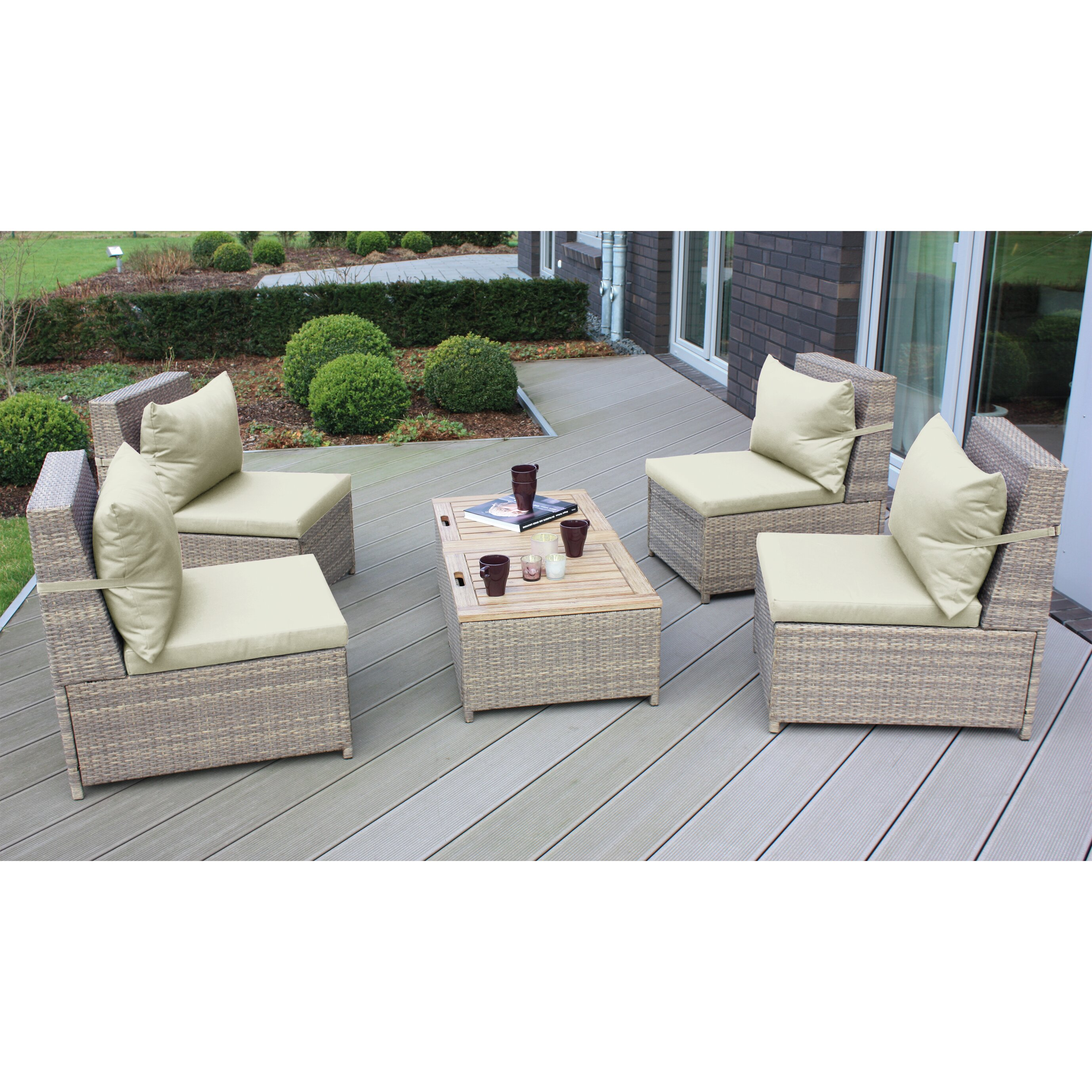 Longshore Tides Schmidt 6 Piece Sectional Seating Group With Cushions Amp Reviews Wayfair Ca