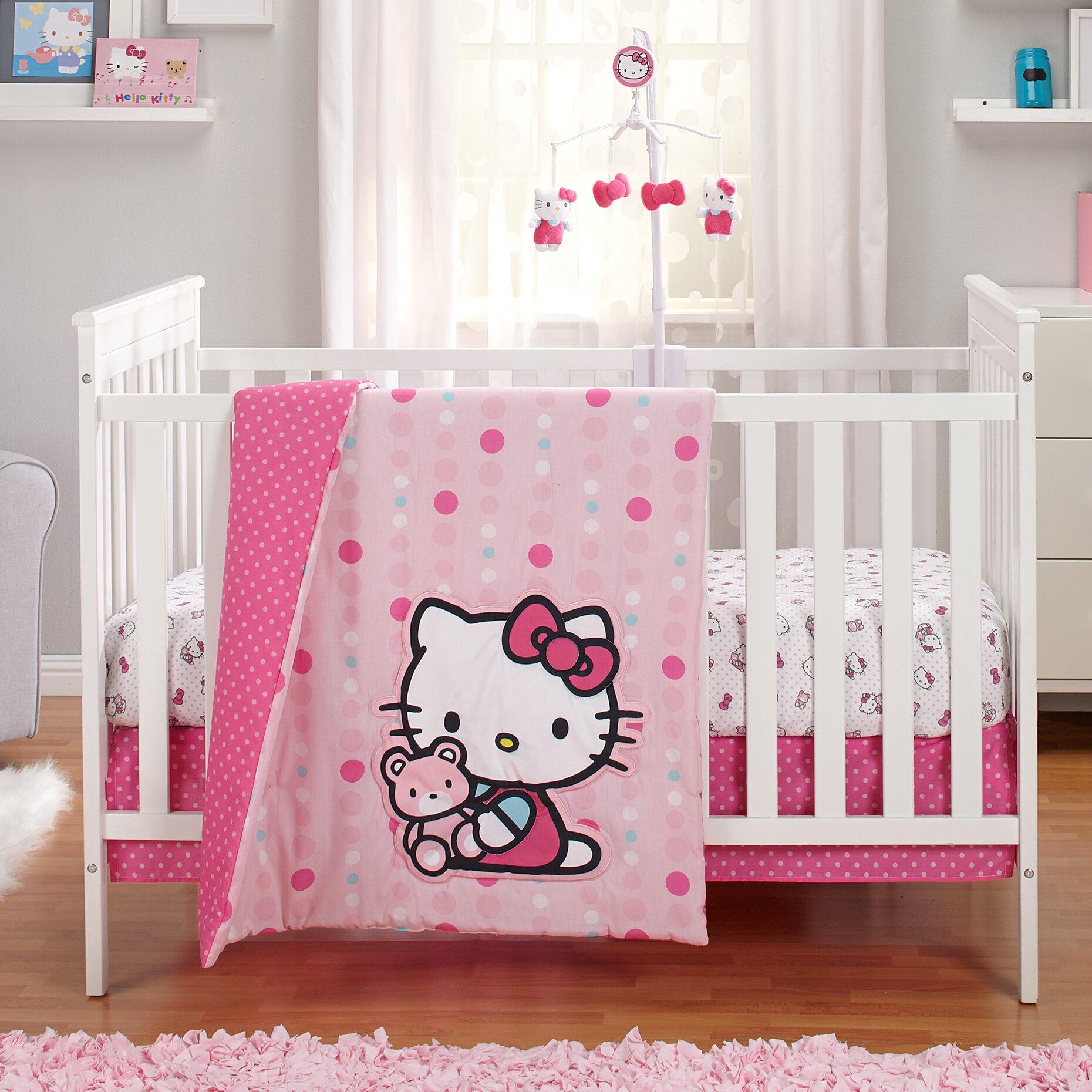 Hello kitty crib for sale - Hello Kitty Cute As A Button 3 Piece Crib Bedding Set