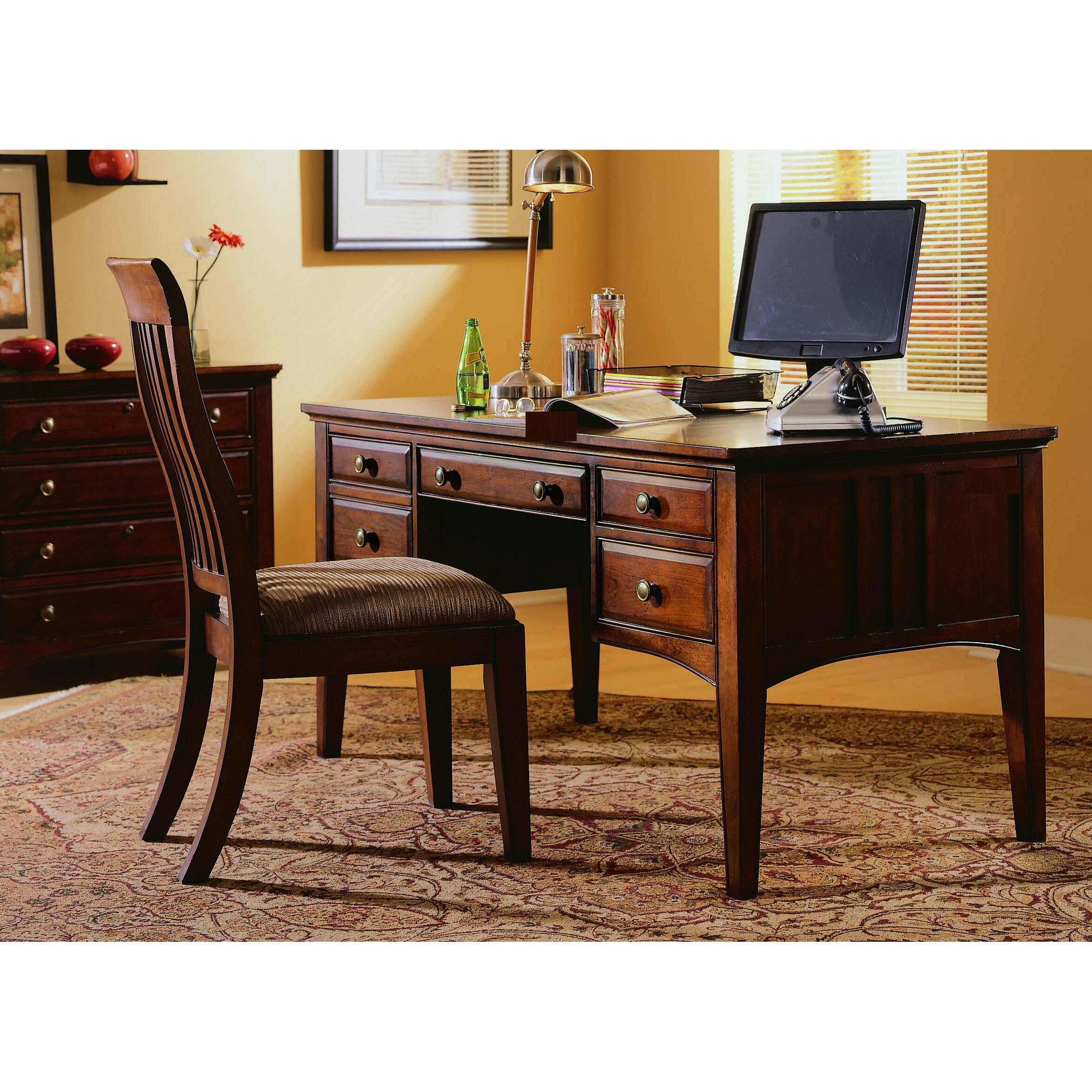 hooker furniture bedford row 60 w writing desk set in