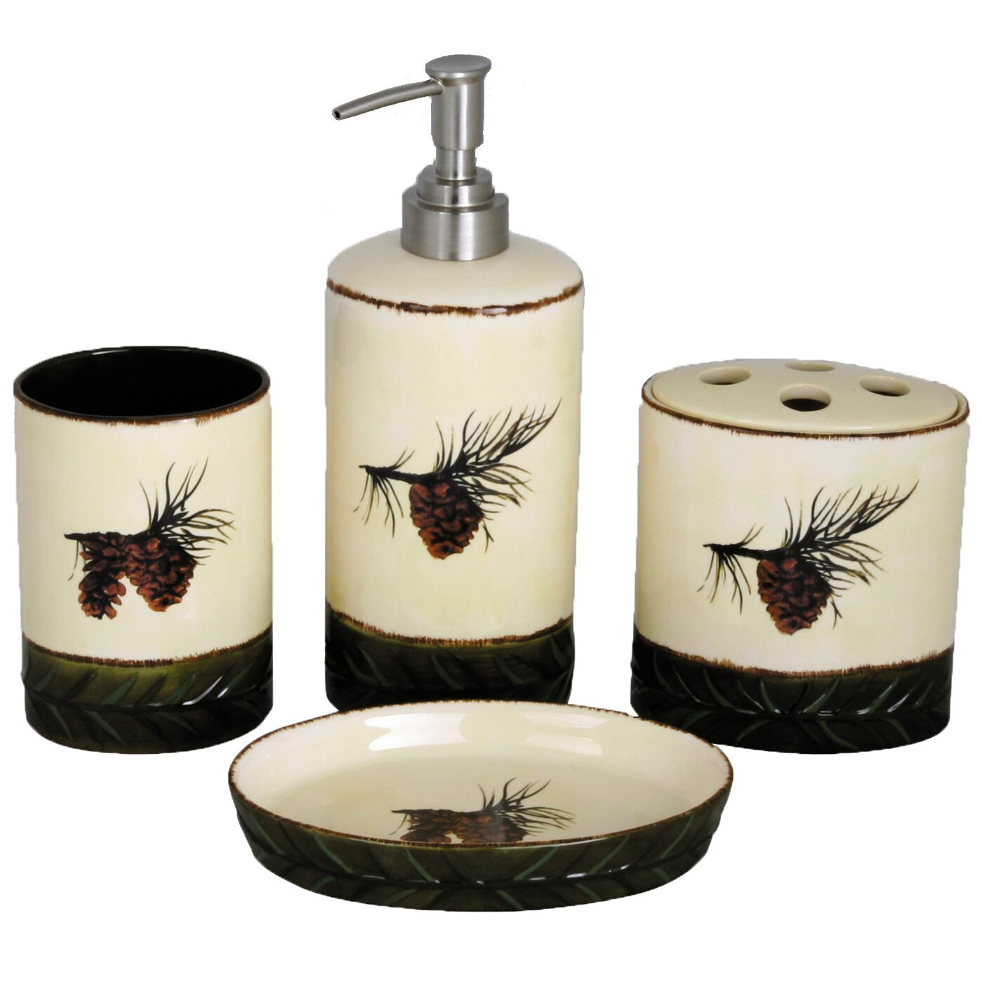 hiend accents pinecone 4-piece bathroom accessory set & reviews