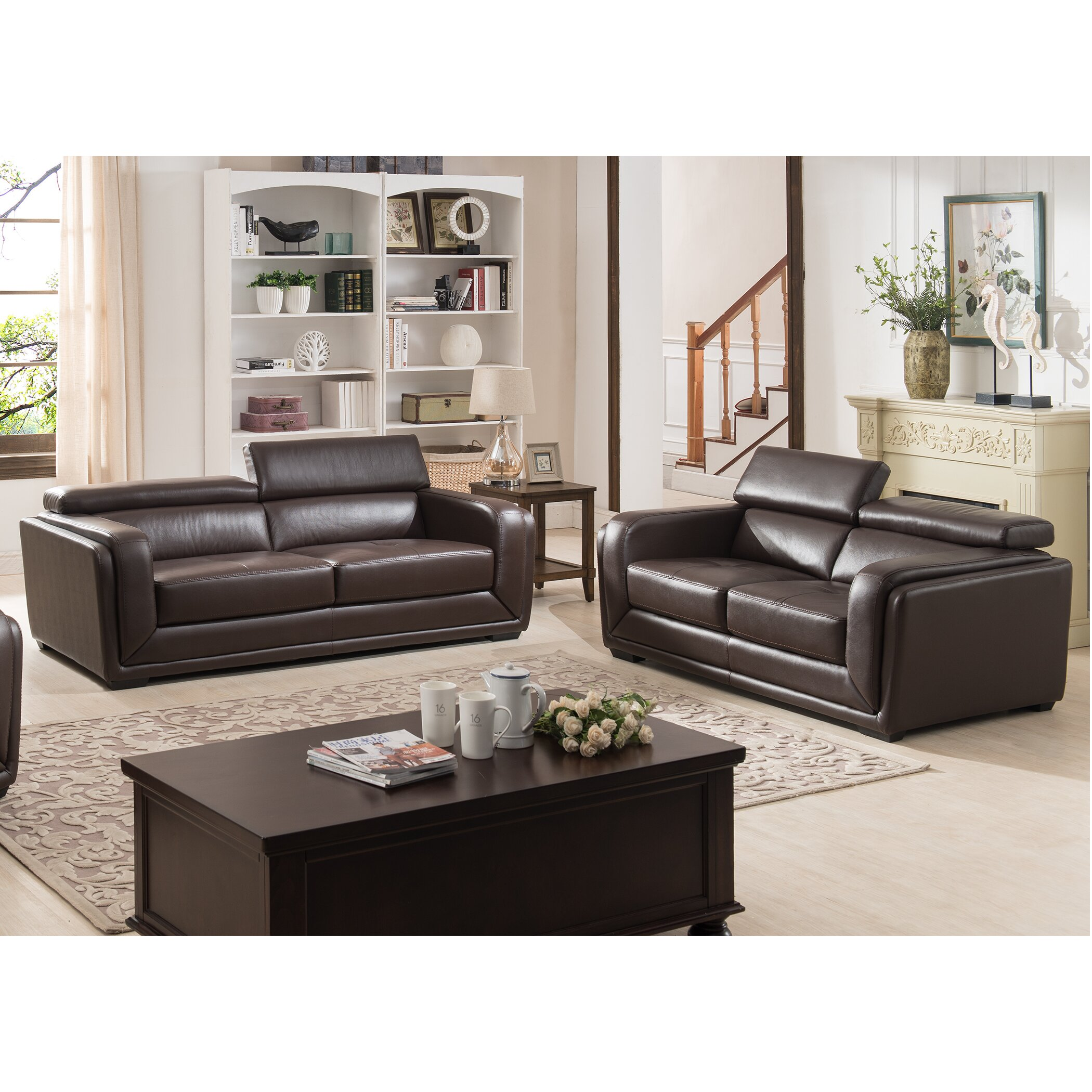 Leather Living Room Sets On Ac Pacific Calvin Modern 2 Piece Leather Living Room Set Reviews
