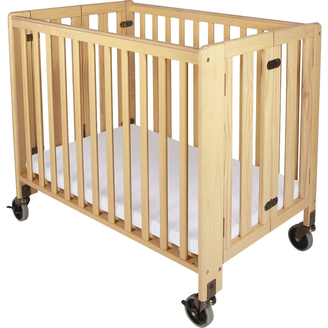 Baby cribs for daycare centers - Foundations Hideaway Storable Wood Convertible Crib With Mattress