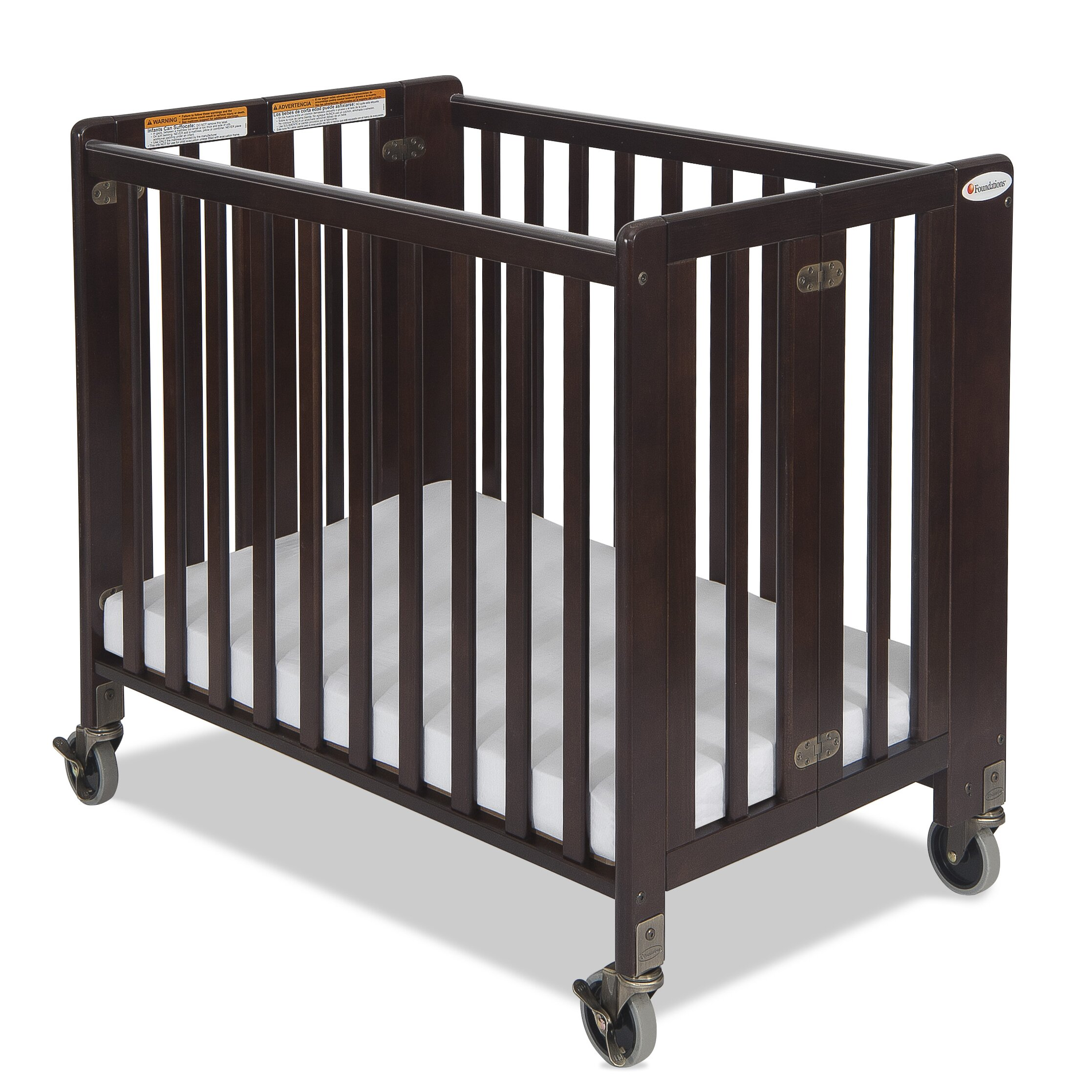 Ellery round crib for sale - Hideaway Storable Wood Convertible Crib With Mattress
