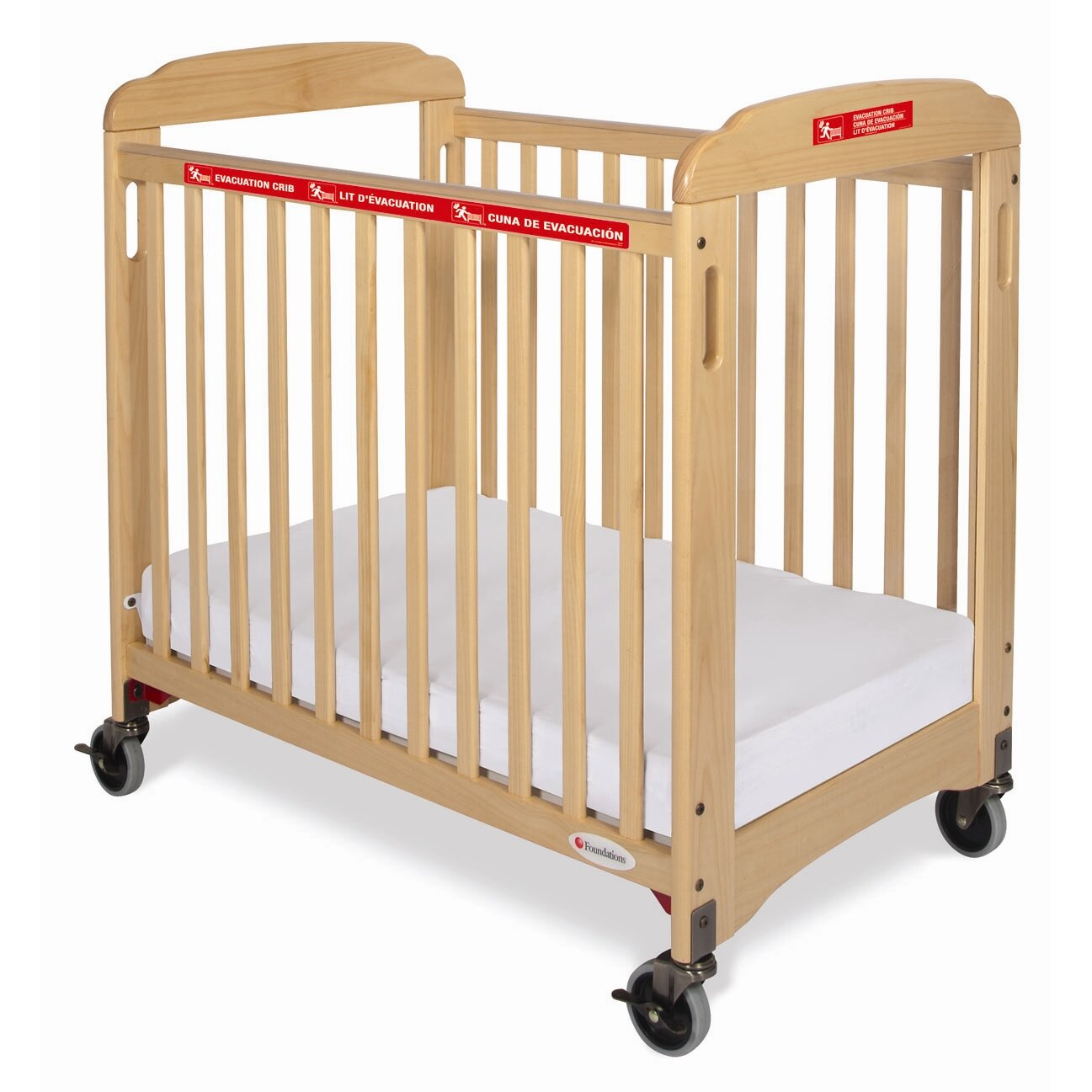 Evacuation crib for sale - Foundations First Responder Compact Sided Evacuation Clearview Convertible Crib With Mattress