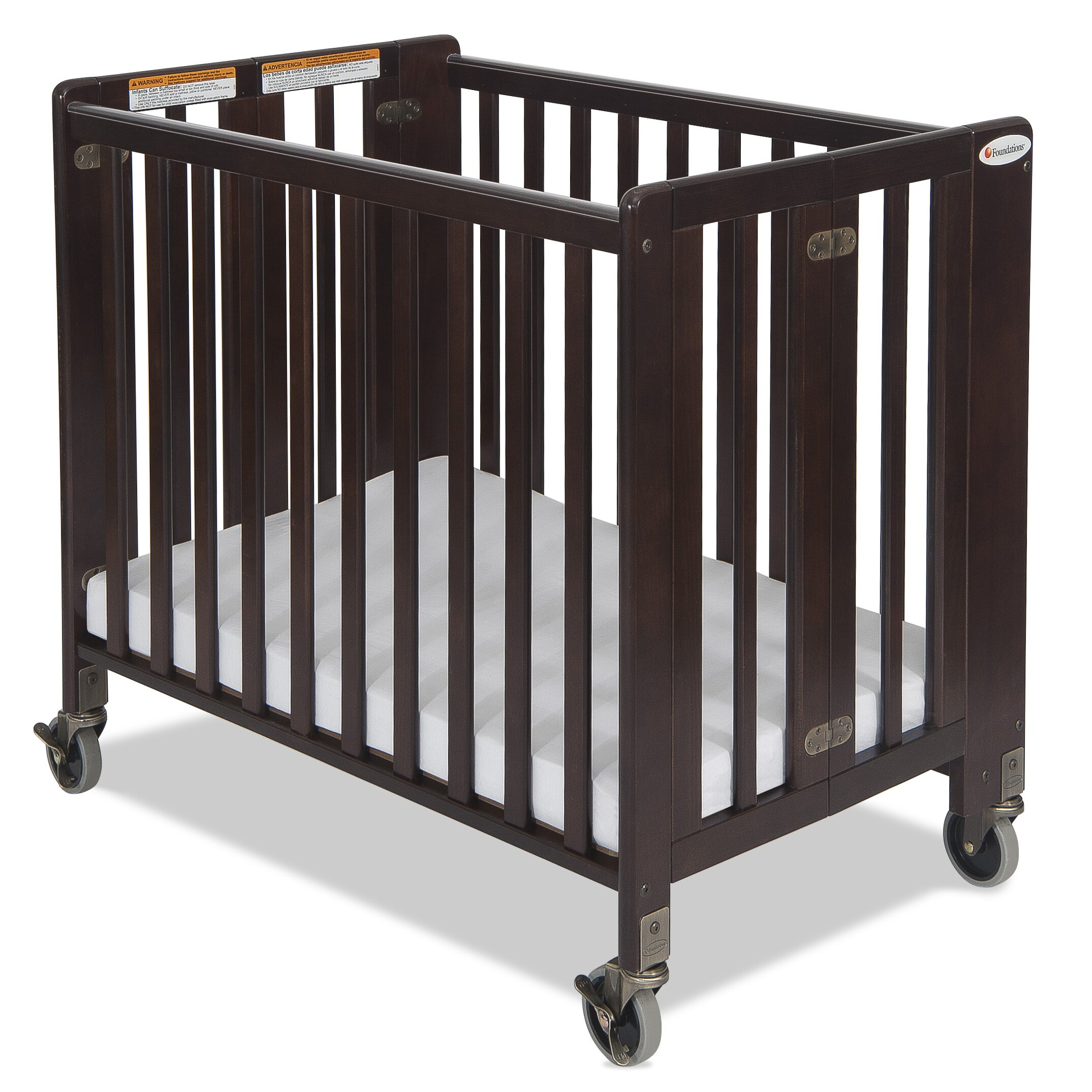 Evacuation crib for sale - Foundations Hideaway Compact Folding Convertible Crib With Mattress