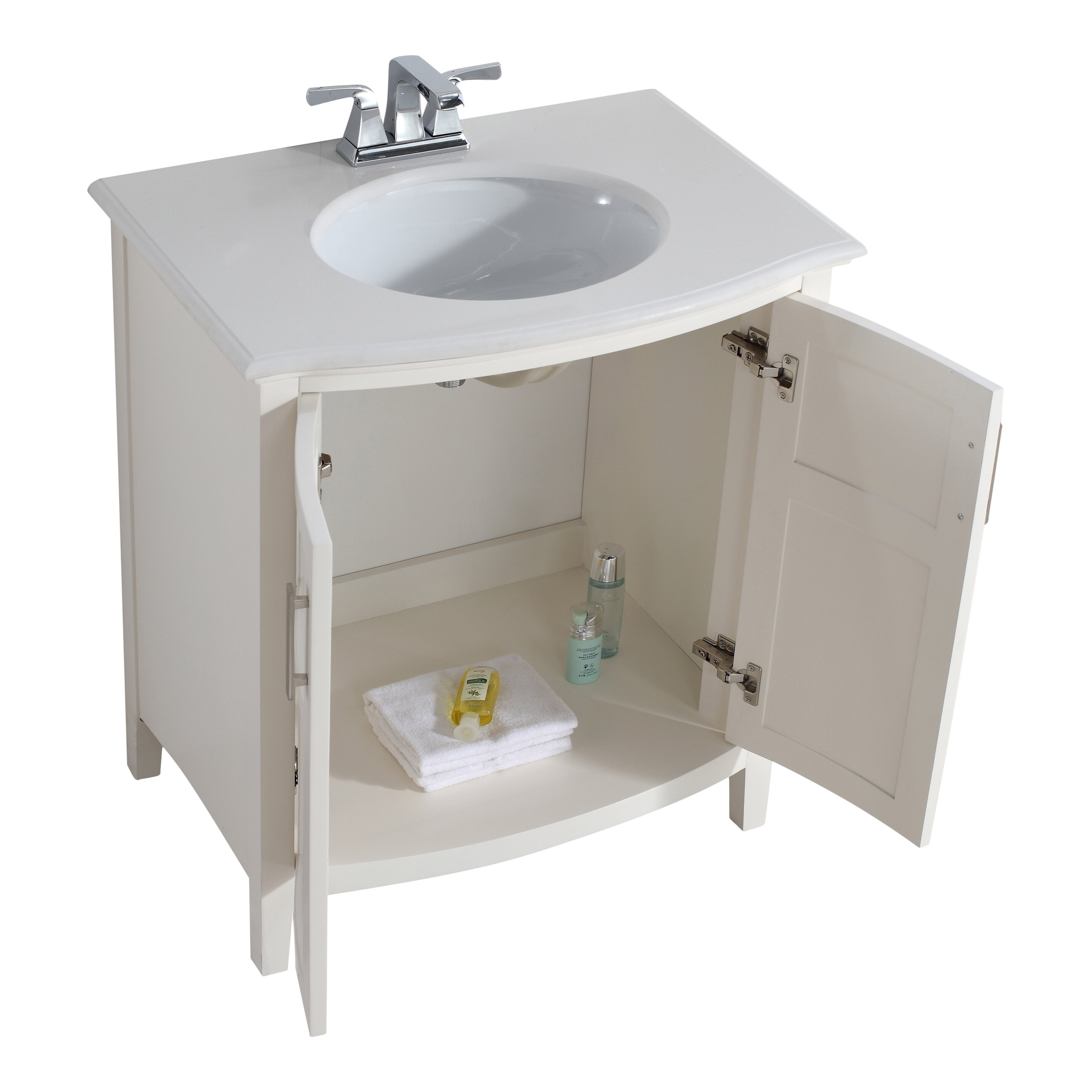 simpli home winston 31quot single rounded front bathroom vanity set - Ensemble Vanite Armoire