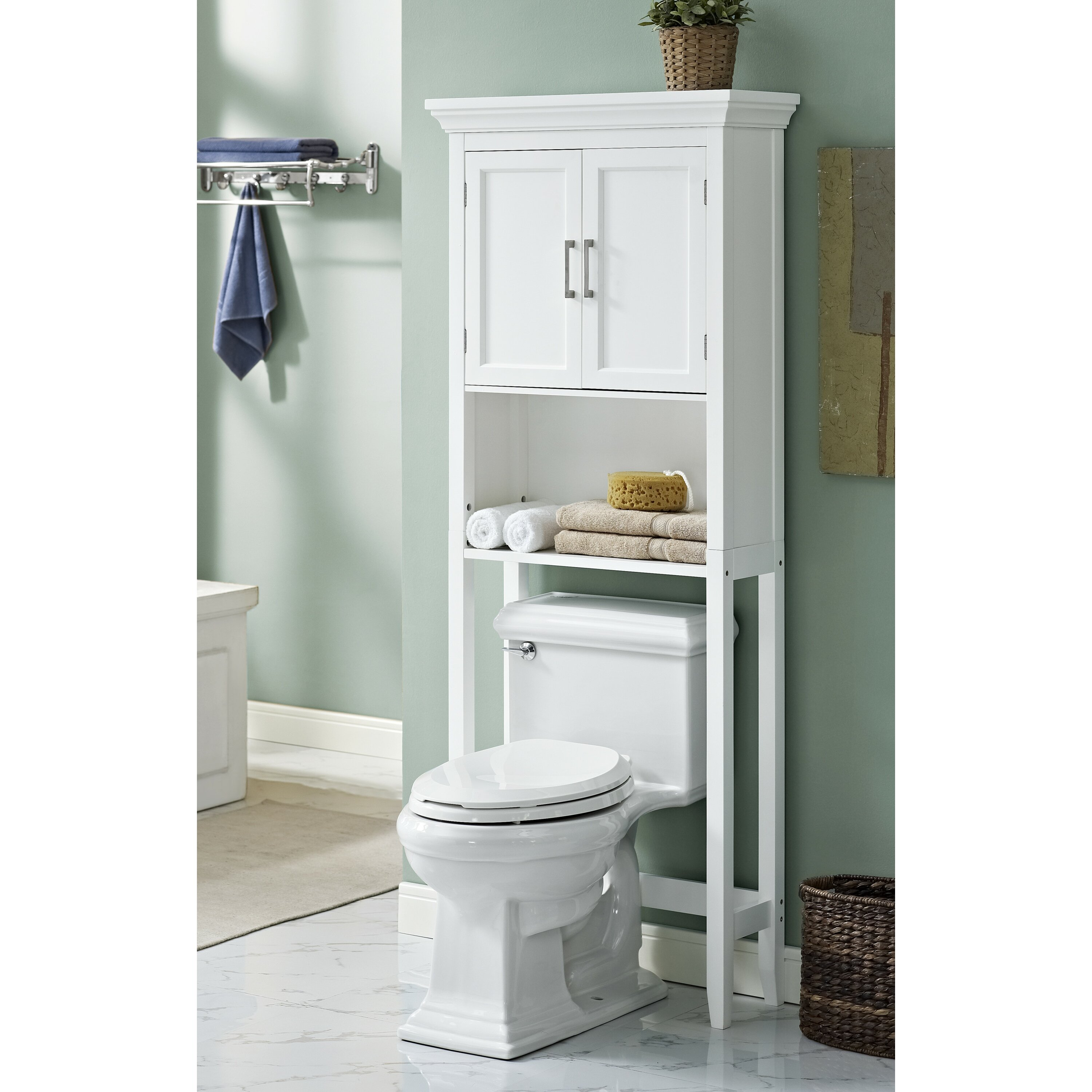 Over The John Storage Cabinet Simpli Home Avington 27 W X 67 H Over The Toilet Storage