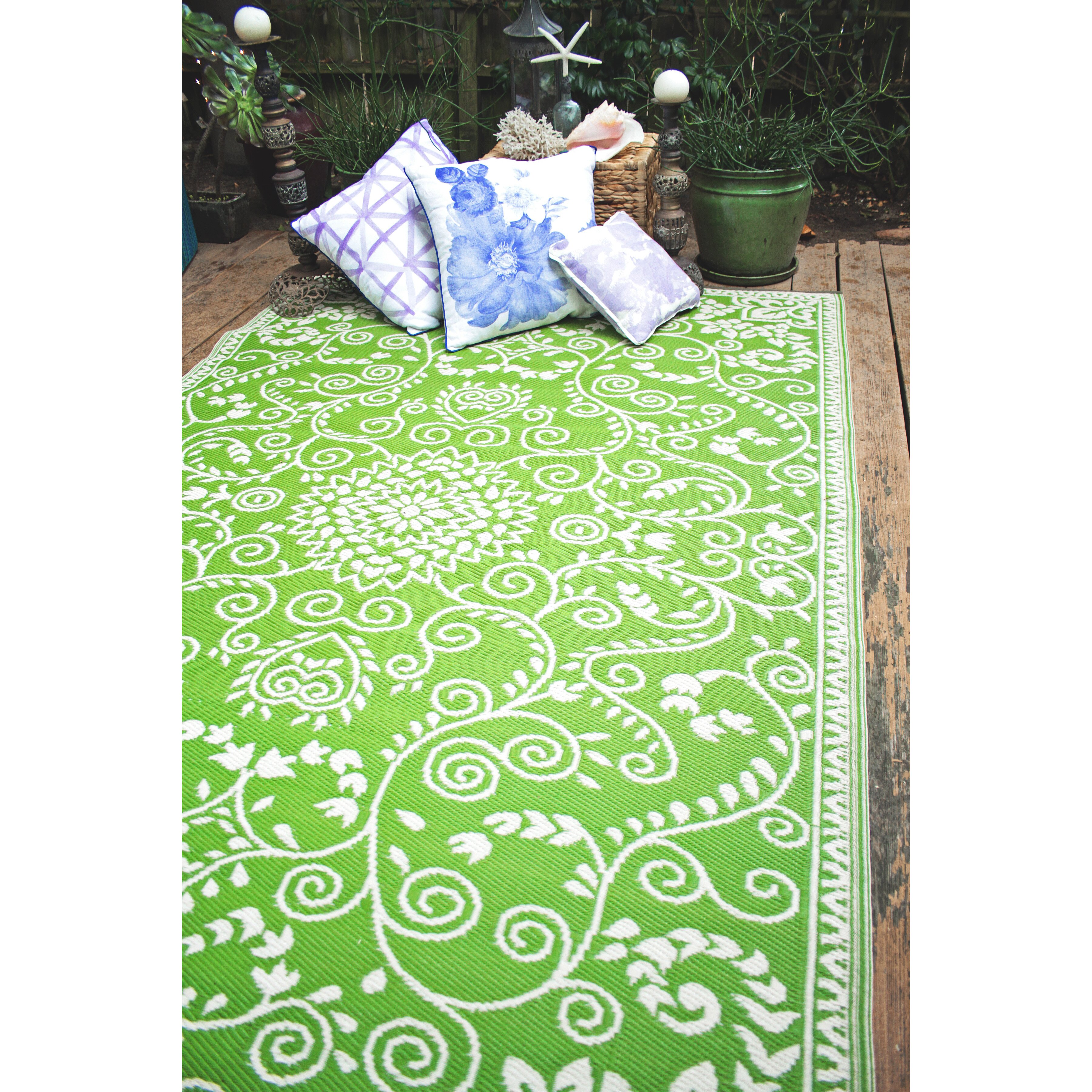 Green Patio Rug 5x7: Fab Habitat World Murano Lime Green Indoor/Outdoor Area