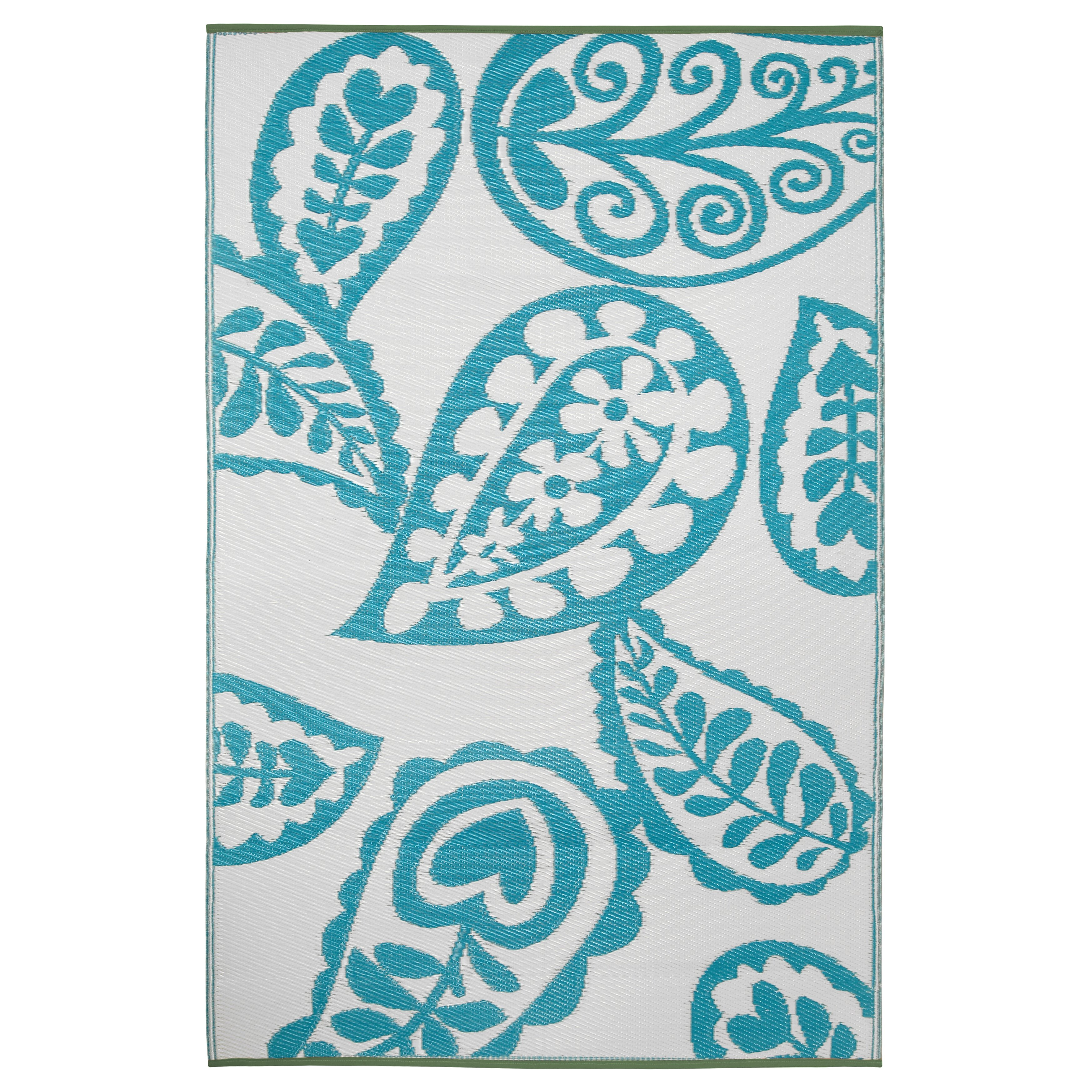 turquoise and white rug
