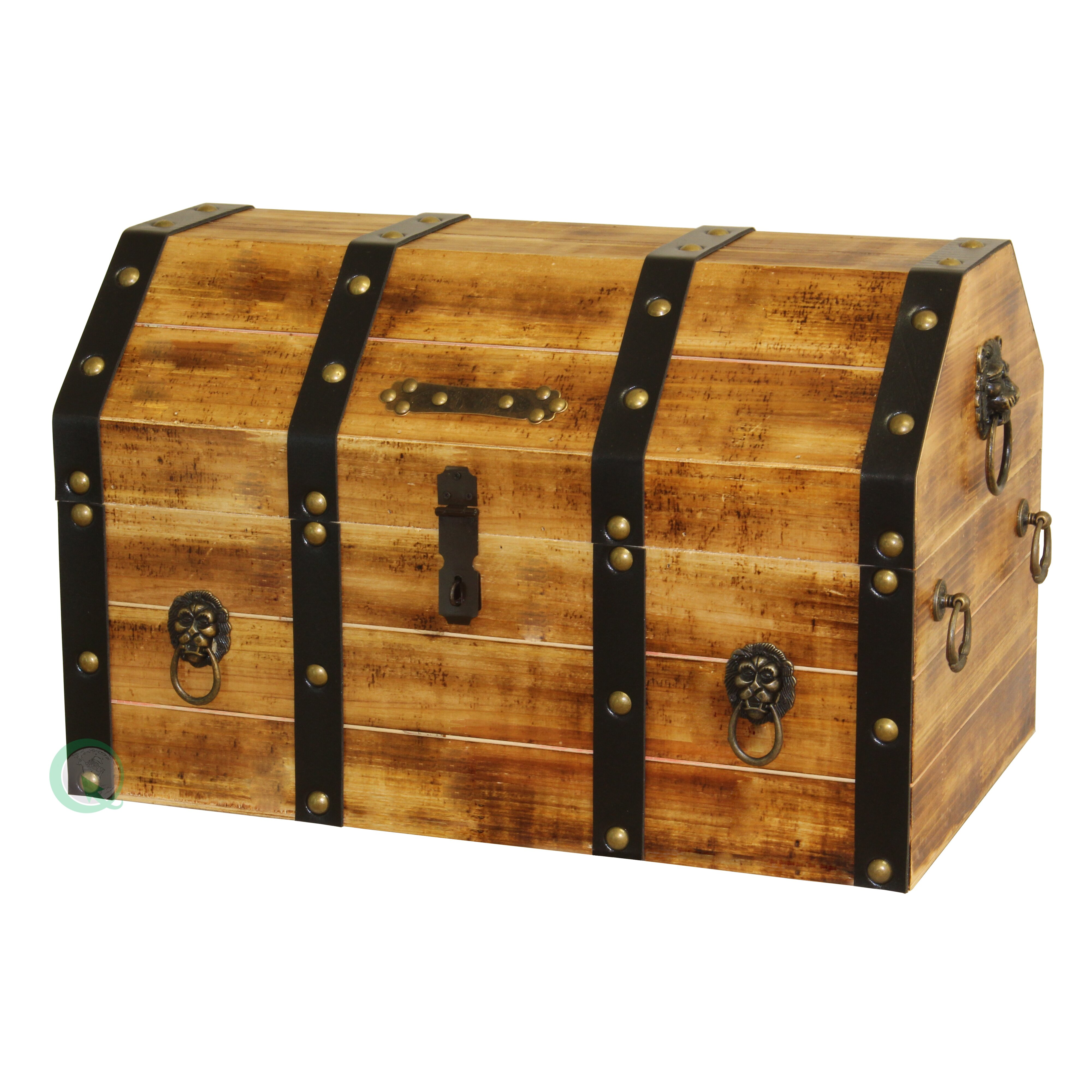 Lockable Bedroom Furniture Quickway Imports Large Wooden Pirate Lockable Trunk With Lion