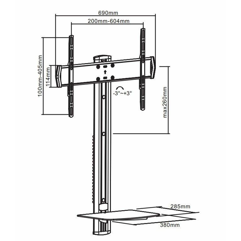 Arrowmounts Adjustable Height Tv And Dvd Wall Deck For 32 60 Tv Wayfair