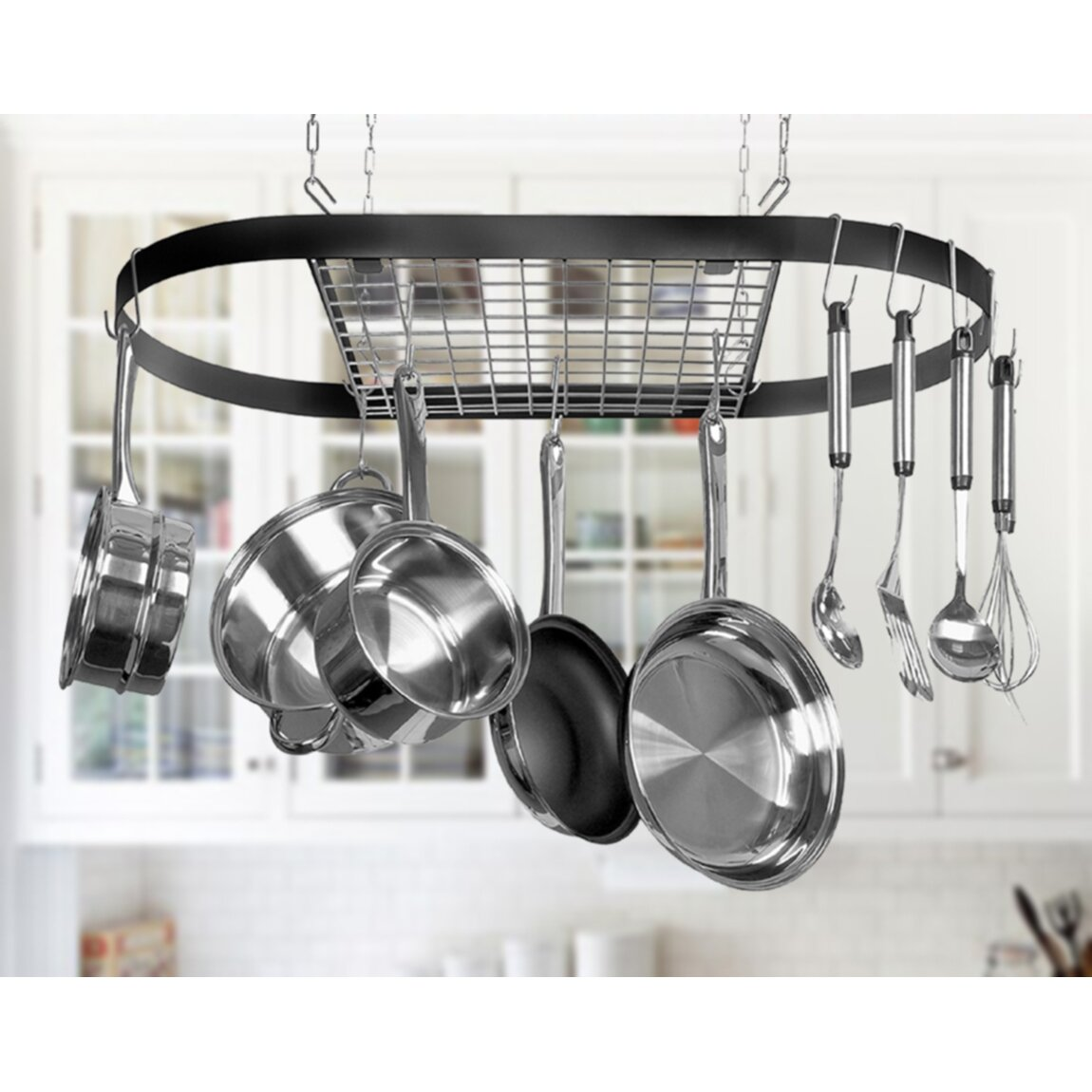 Hanging Kitchen Pot Rack Kinetic Classicor Wrought Iron Hanging Oval Pot Rack Reviews