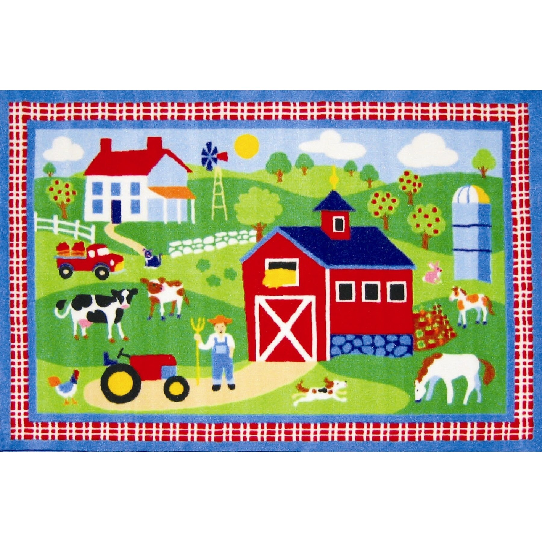 Fun Rugs Olive Kids Country Farm Green Area Rug