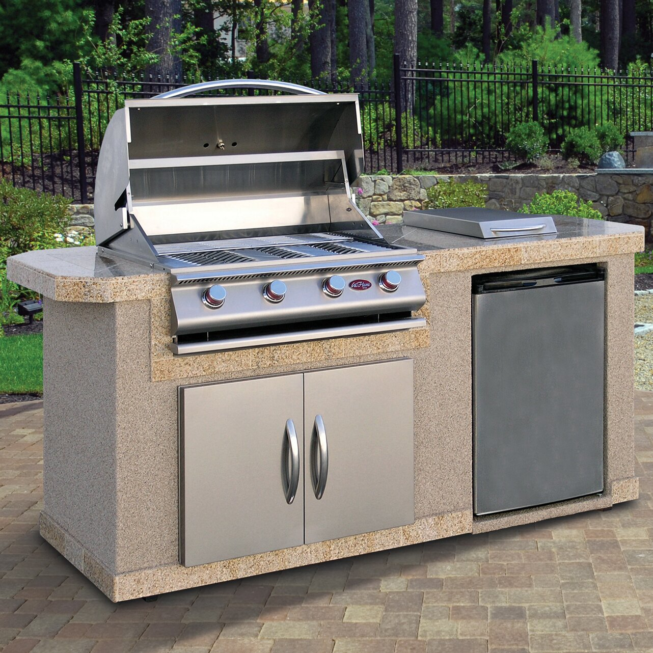 calflame outdoor kitchen islands 4 burner built in propane gas grill with side shelves reviews. Black Bedroom Furniture Sets. Home Design Ideas