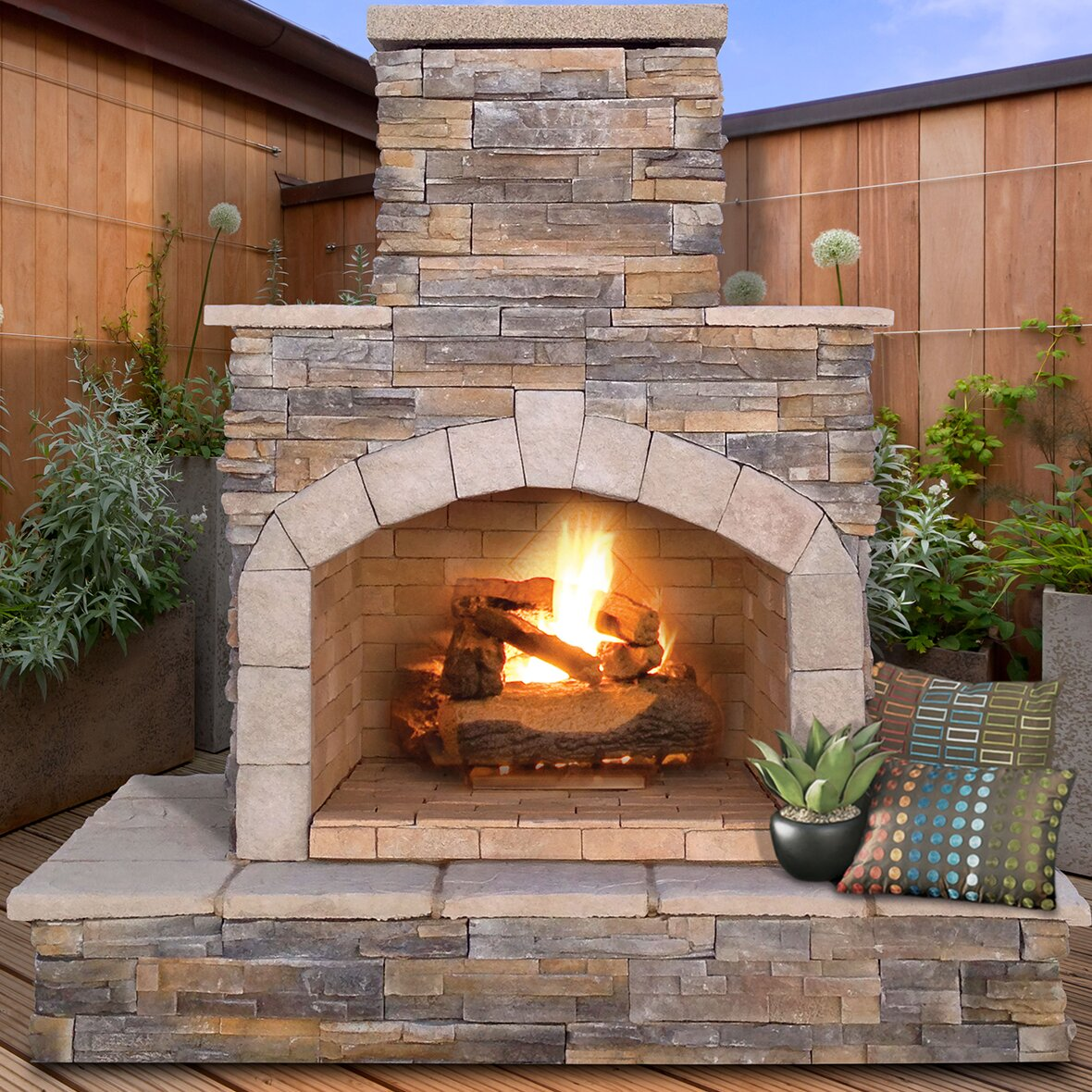 CalFlame Natural Stone Propane / Gas Outdoor Fireplace - CalFlame Natural Stone Propane / Gas Outdoor Fireplace & Reviews