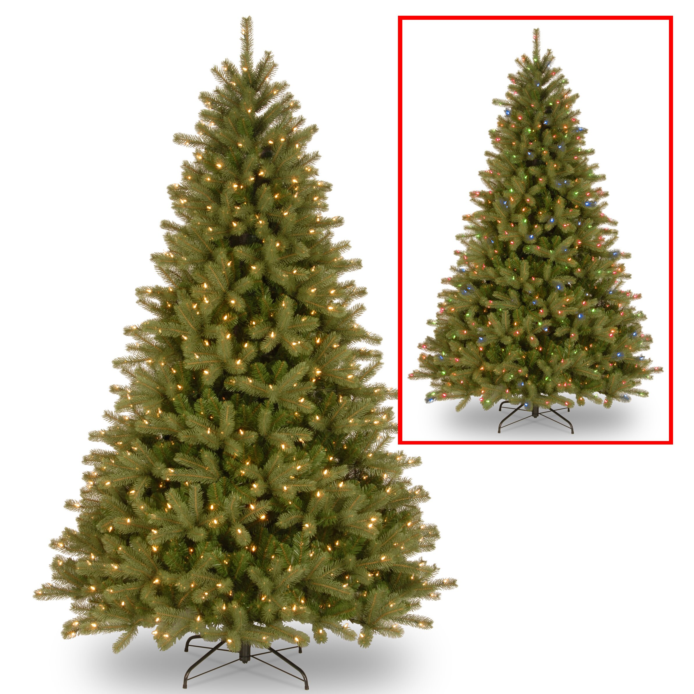 7 ft pre lit led christmas tree - National Tree Co Lakewood 7 5 Green Spruce Artificial Christmas Tree With 700 Dual Color Reg