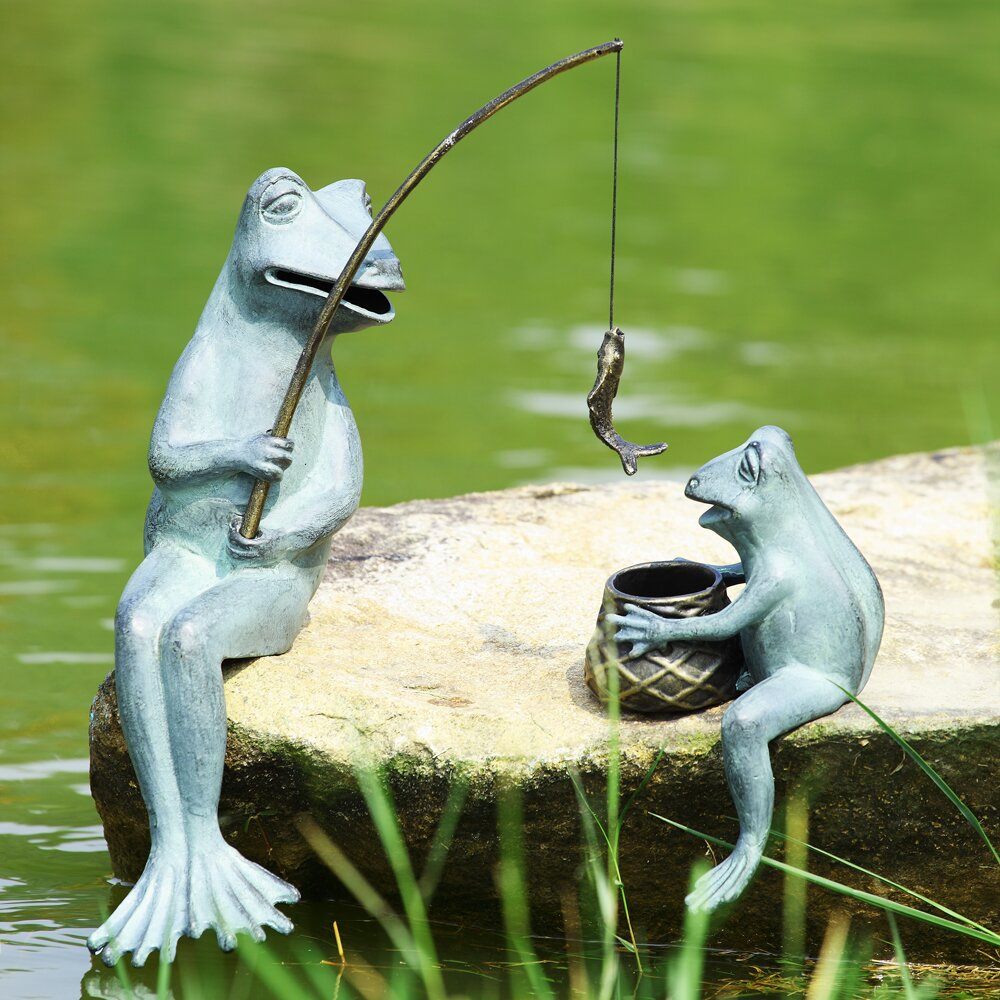 SPI Home Fishing Frog Mama and Baby Garden Statue Reviews Wayfair