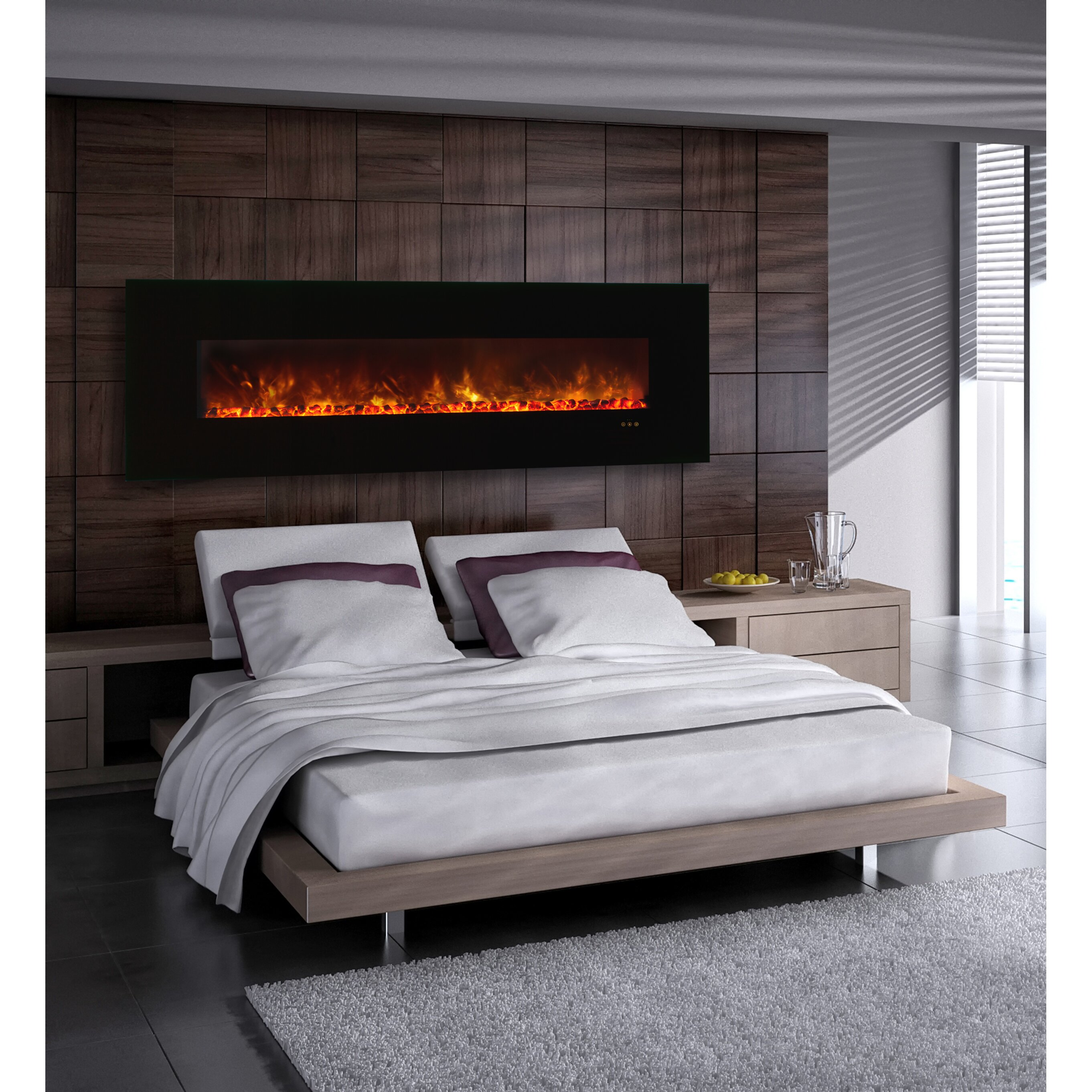 Bedroom electric fireplace - Modern Flames Clx Series Ambiance Custom Linear Delux Wall Mount Electric Fireplace