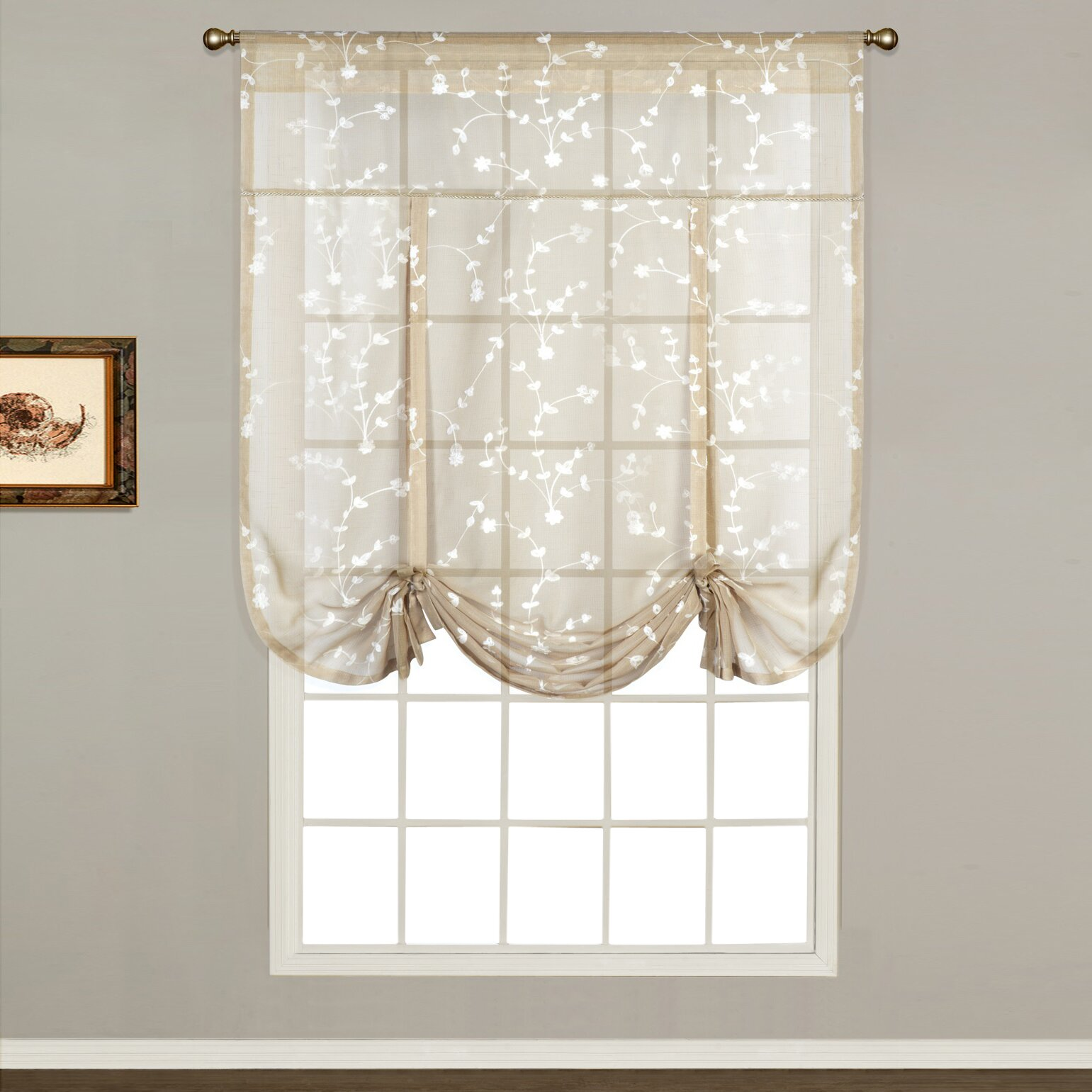 Sheer white bedroom curtains - Savannah Sheer Tie Up Shade Single Curtain Panel