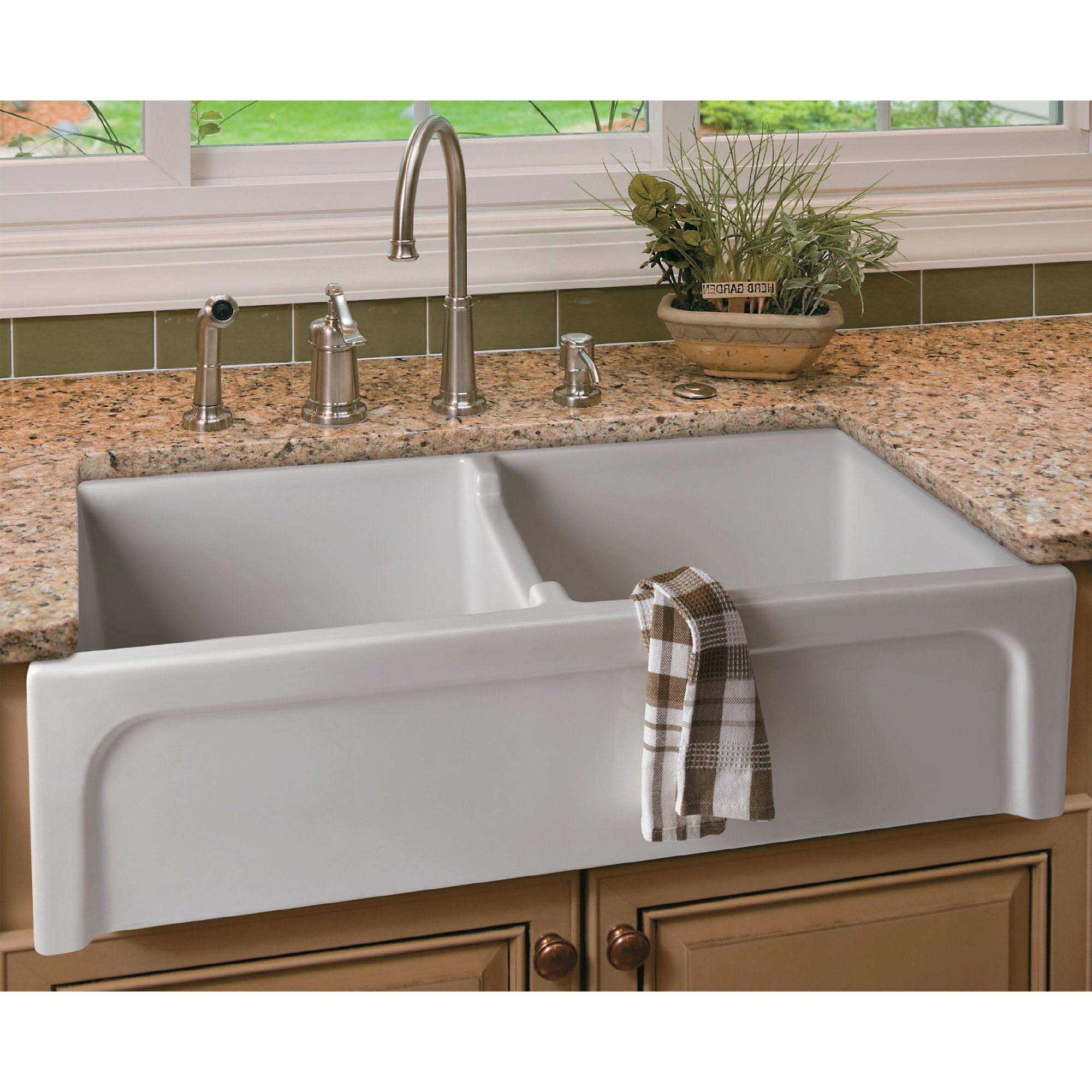 ... Thick Wall Fireclay Double Bowl Farmhouse Kitchen Sink by Alfi Brand