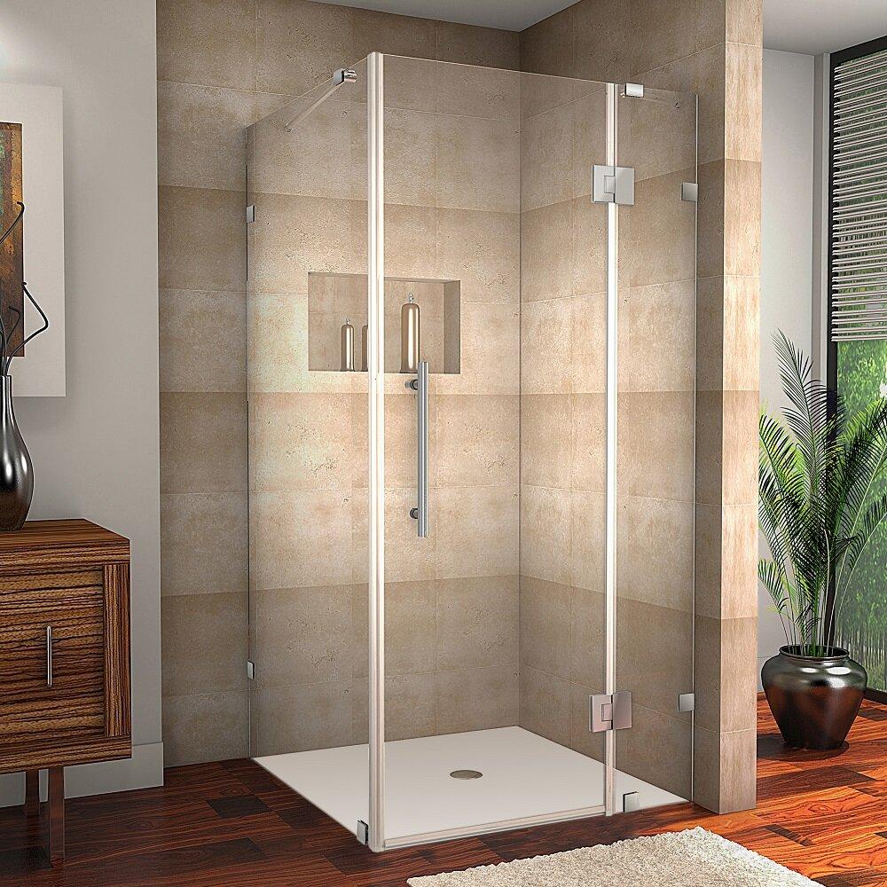 Aston Avalux Completely Frameless Hinged Shower Enclosure - 36 x 36 corner shower stall