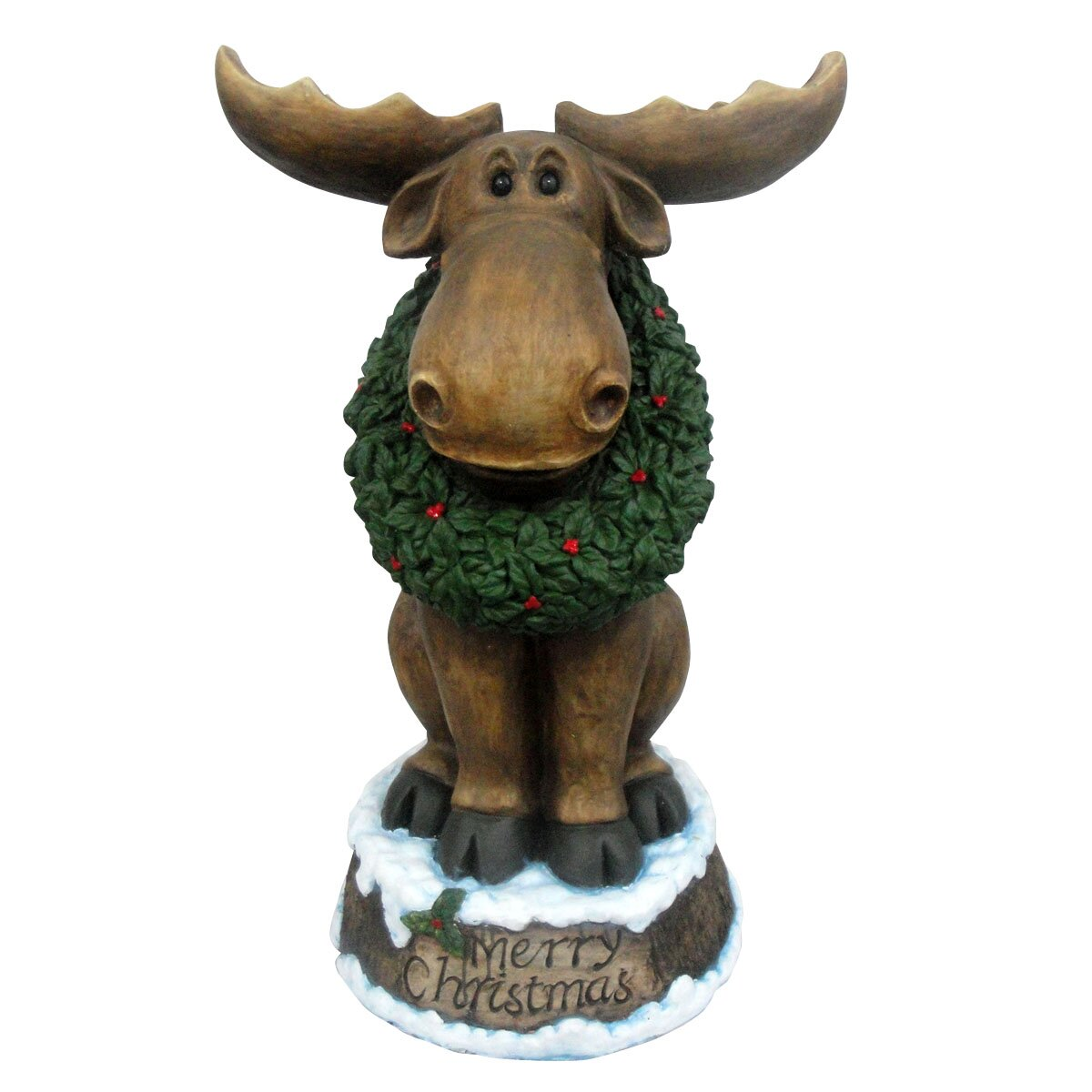 Design House Merry Christmas Moose with Wreath LED Light-Up Statue & Reviews   Wayfair