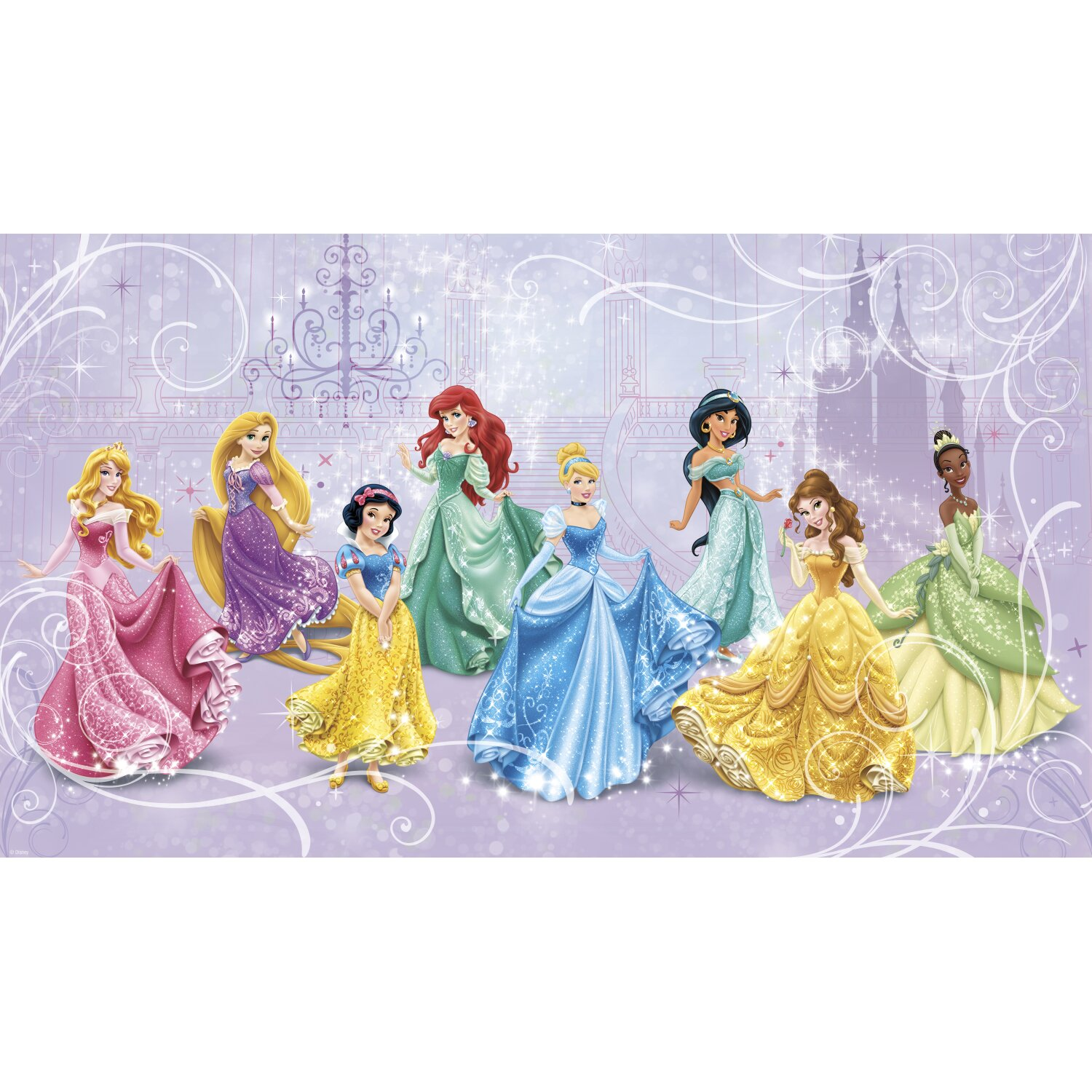 York wallcoverings walt disney kids ii disney princesses for Disney princess wall mural tesco