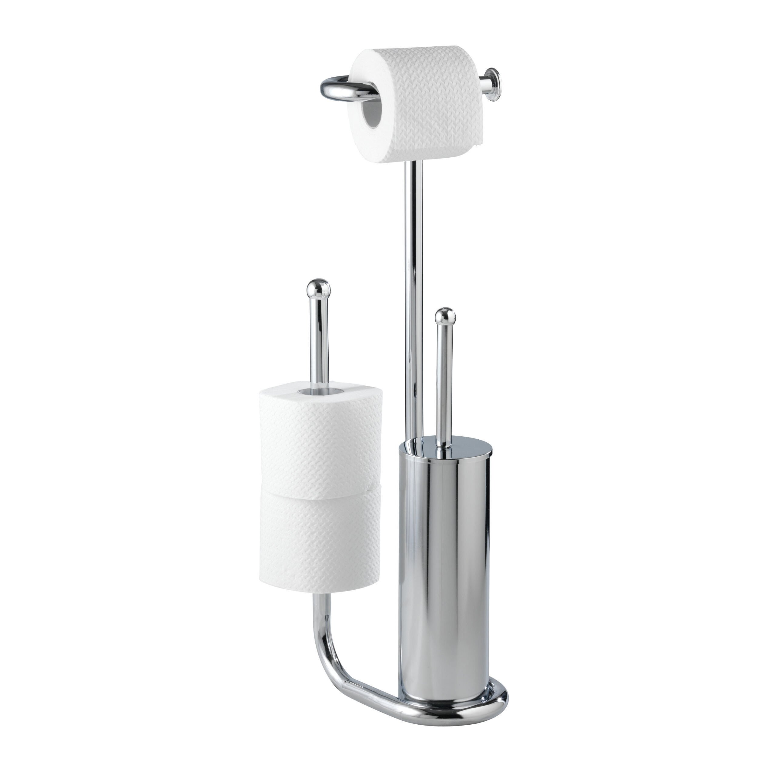 Wenko universalo free standing toilet roll and brush Glass toilet roll holder