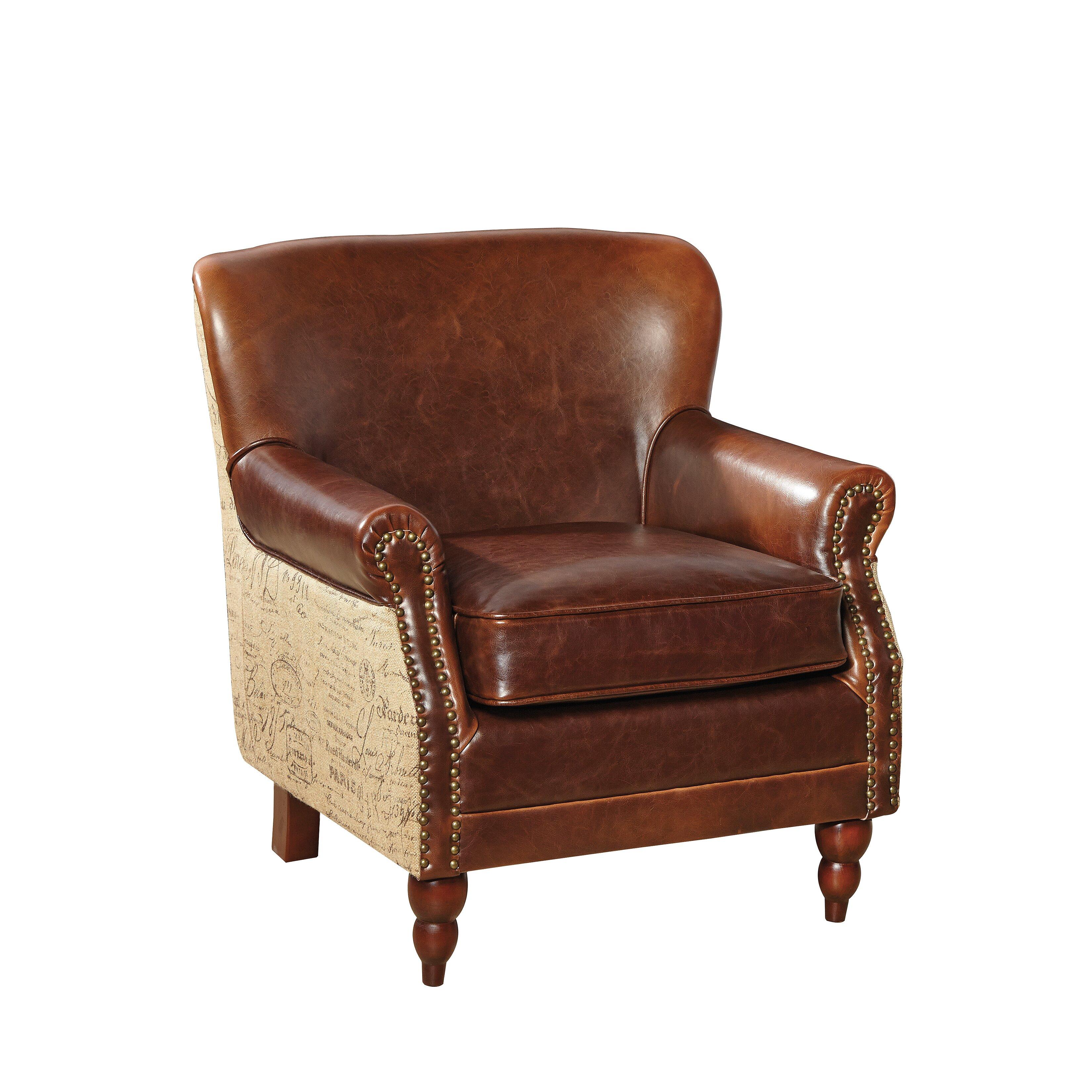 Furniture Classics Ltd Petite Leather And Burlap Script