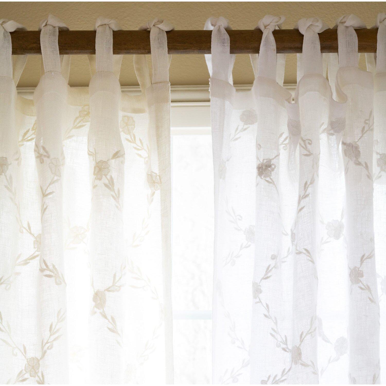 Taylor Linens Trellis Linen Tab Top Voile Single Curtain