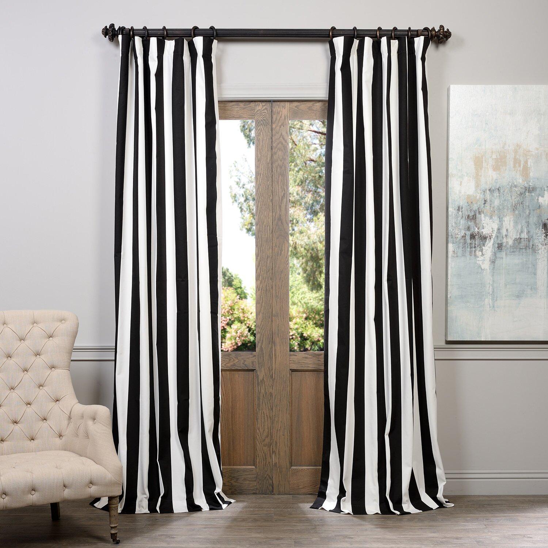 Back tab curtains on traverse rod - Cabana Printed Cotton Rod Pocket Semi Opaque Single Curtain Panel