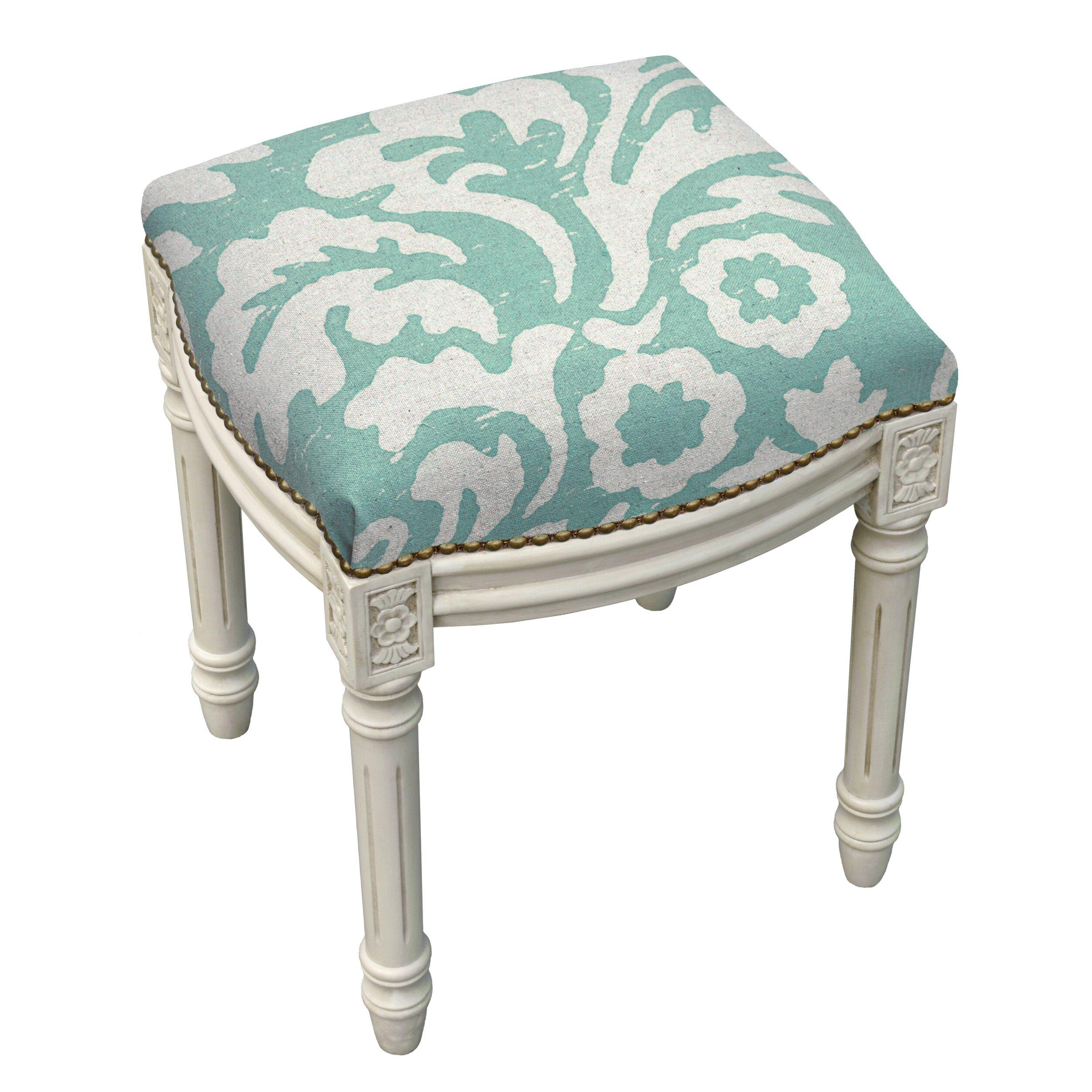 123 Creations Floral Jacobean Linen Upholstered Vanity
