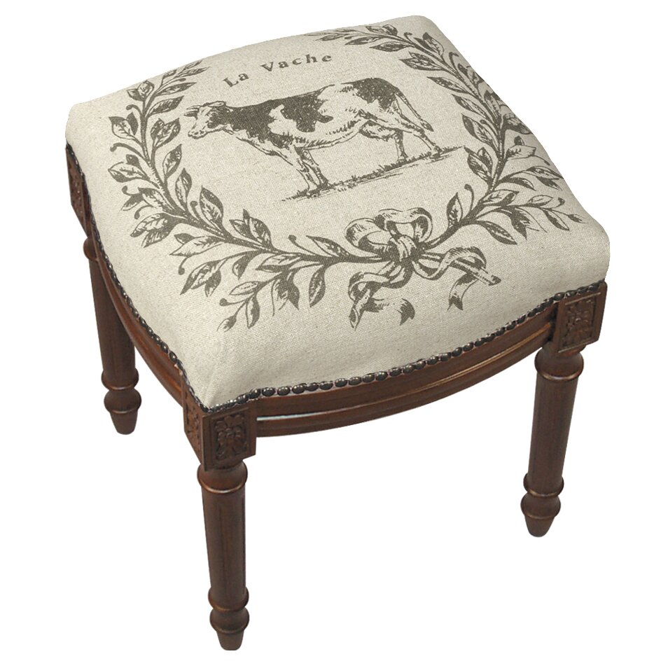 123 Creations Cow Linen Upholstered Vanity Stool With