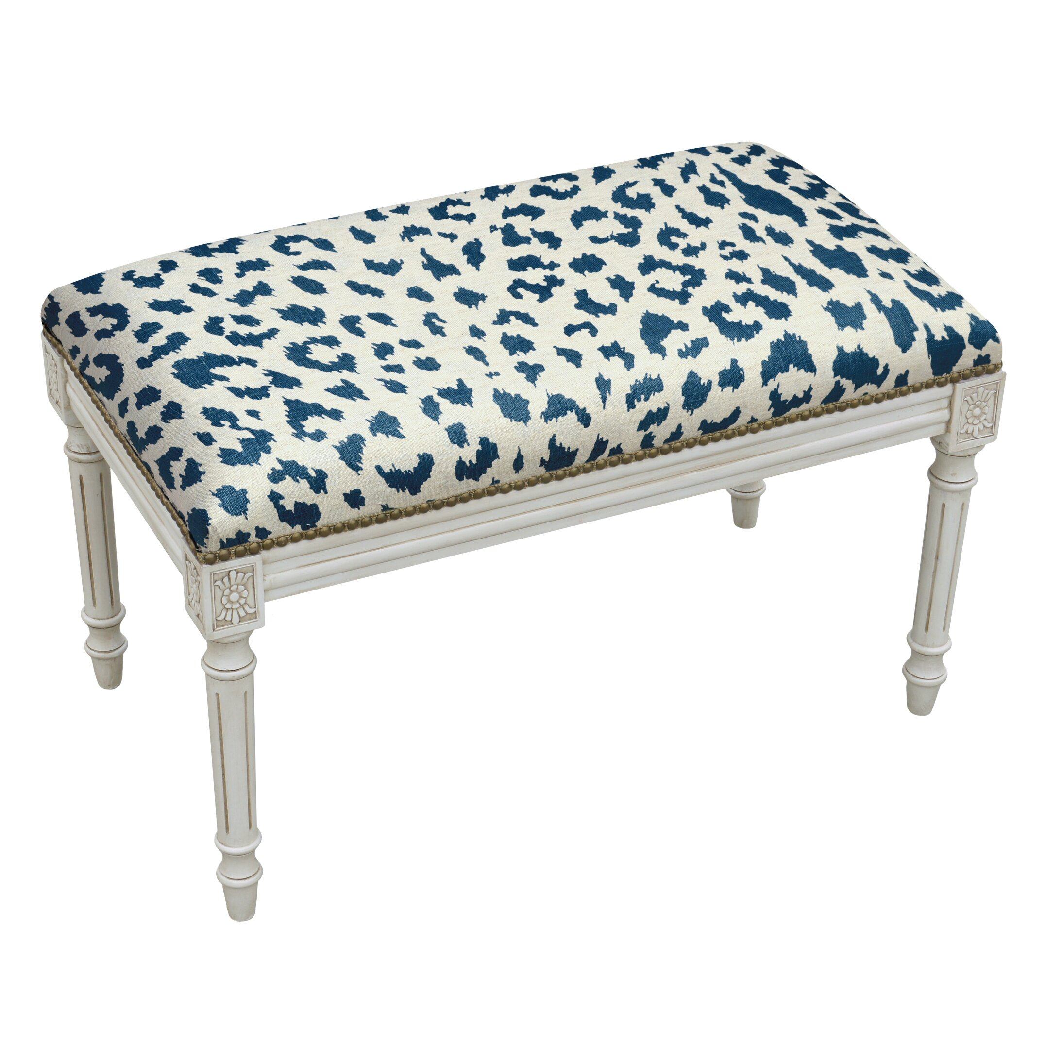 123 Creations Animal Print Upholstered And Wood Bench