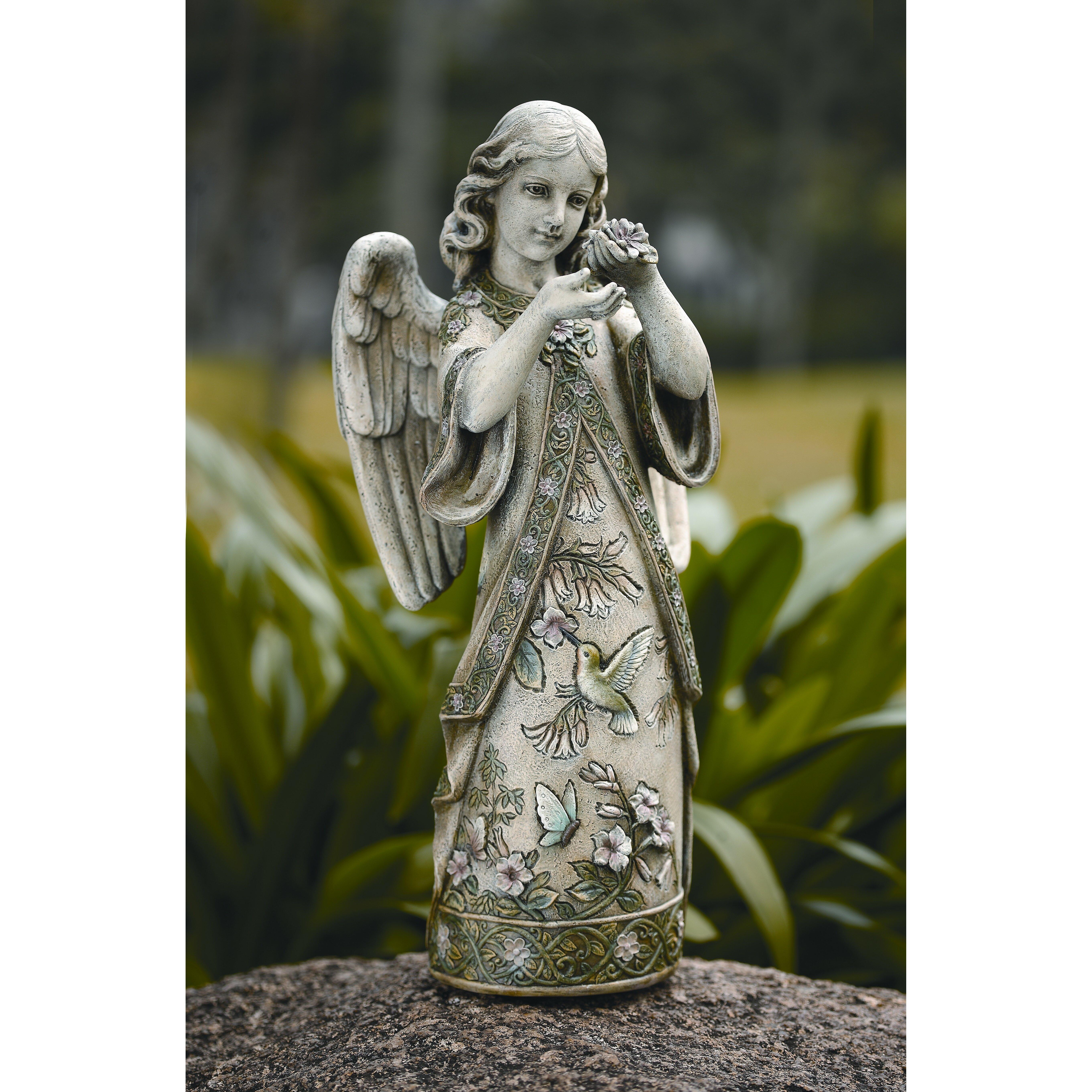 Roman Inc Garden Angel with Hummingbird Figurine Reviews Wayfair