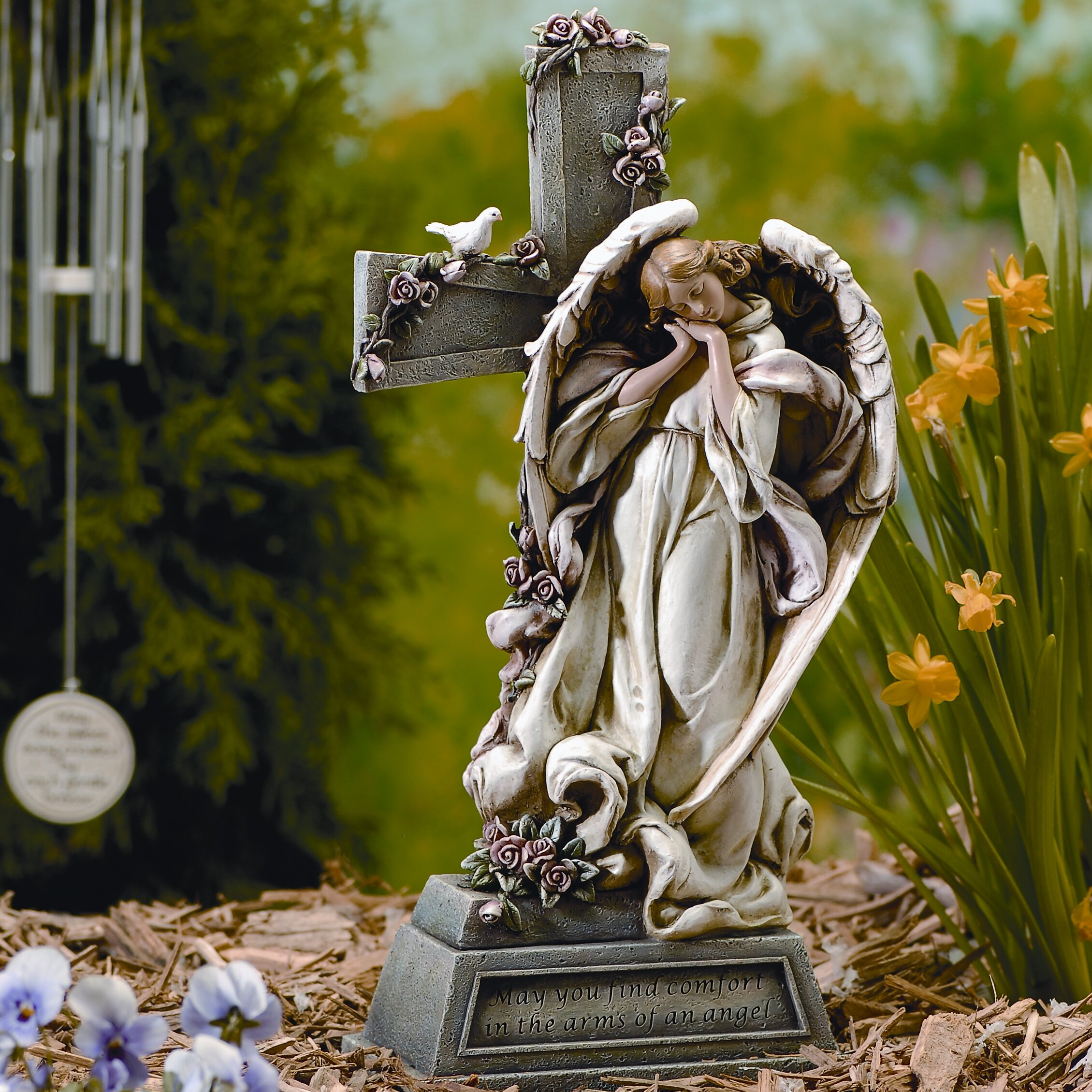 Roman Inc Garden Angel with Cross Statue Reviews Wayfair