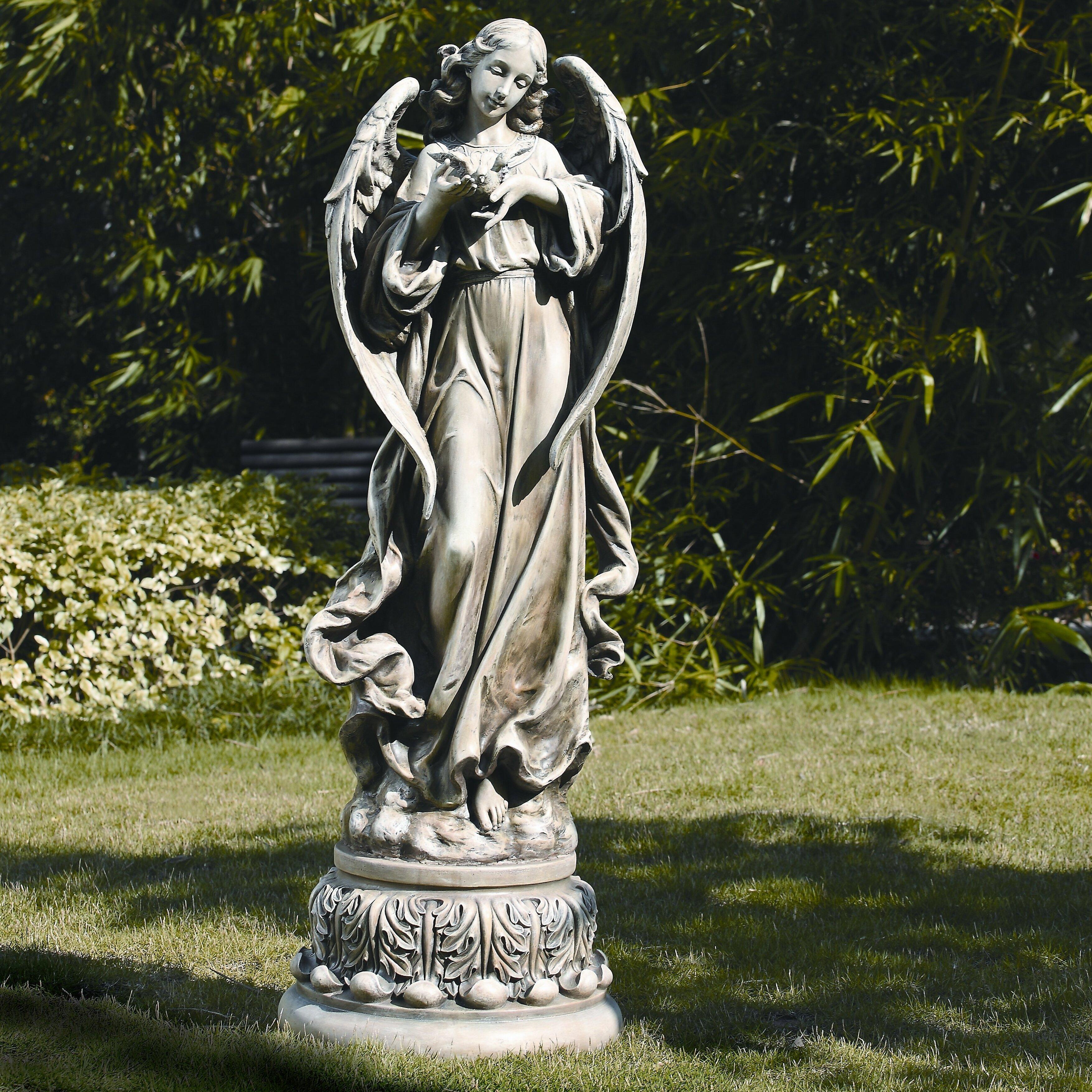 Roman Inc Garden Angel with Dove Figurine Reviews Wayfair