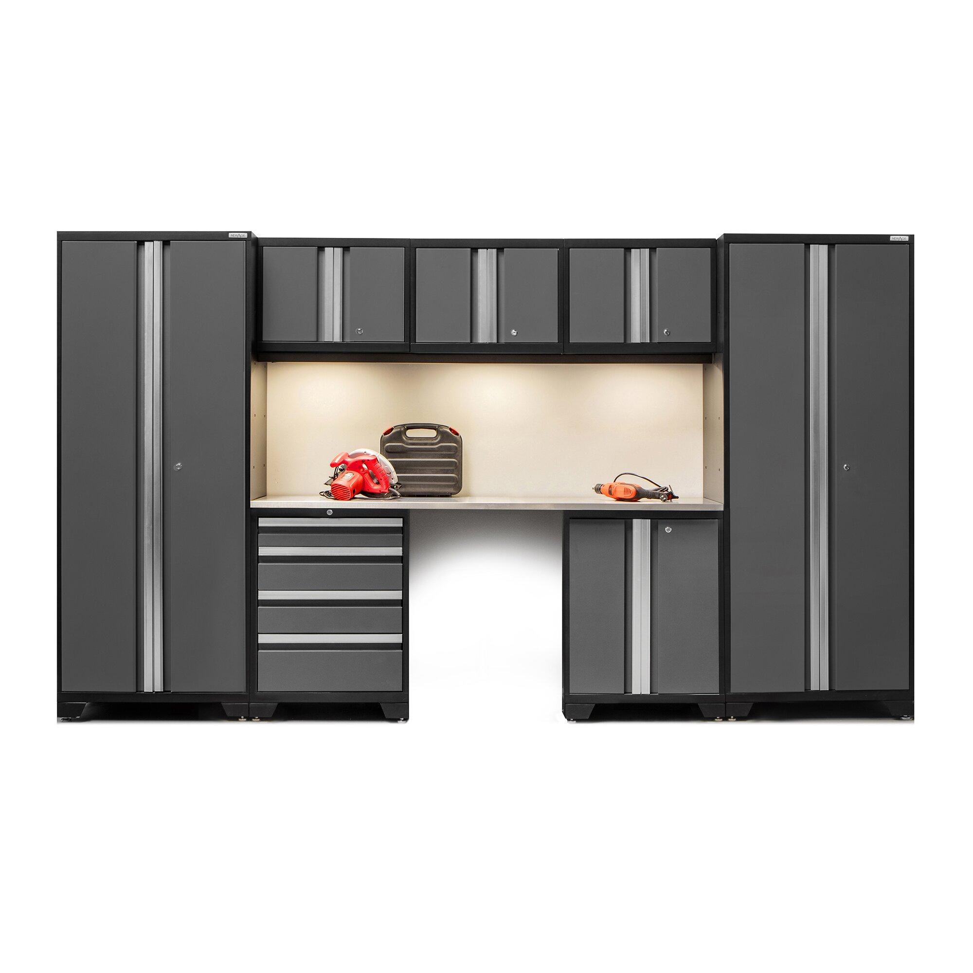 Wall Of Storage Cabinets Newage Products Bold 30 Series 8 Piece Garage Storage Cabinet Set