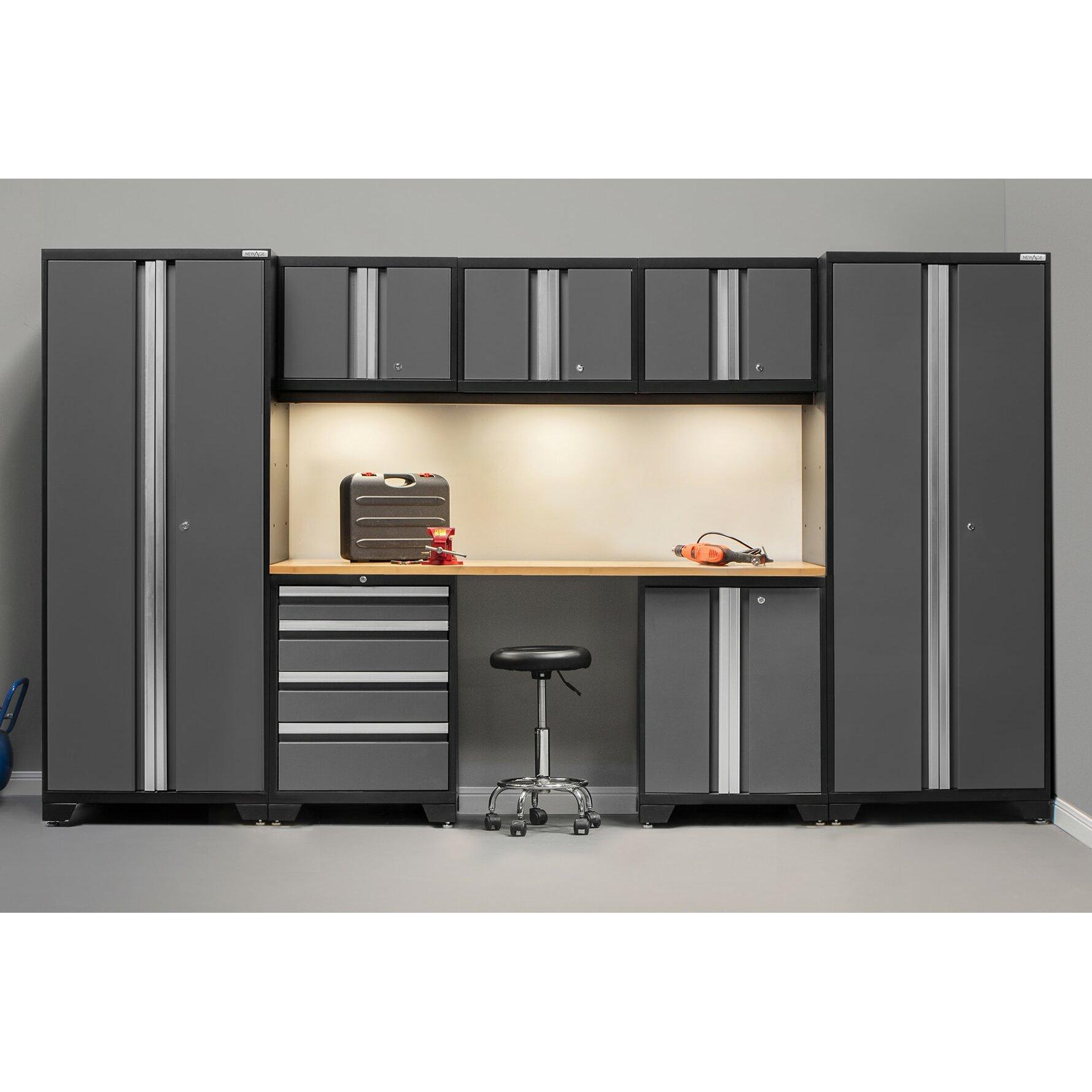 Wonderful Newage Products Bold 3 0 Series 8 Piece Garage Storage Cabinet Set With  Worktop