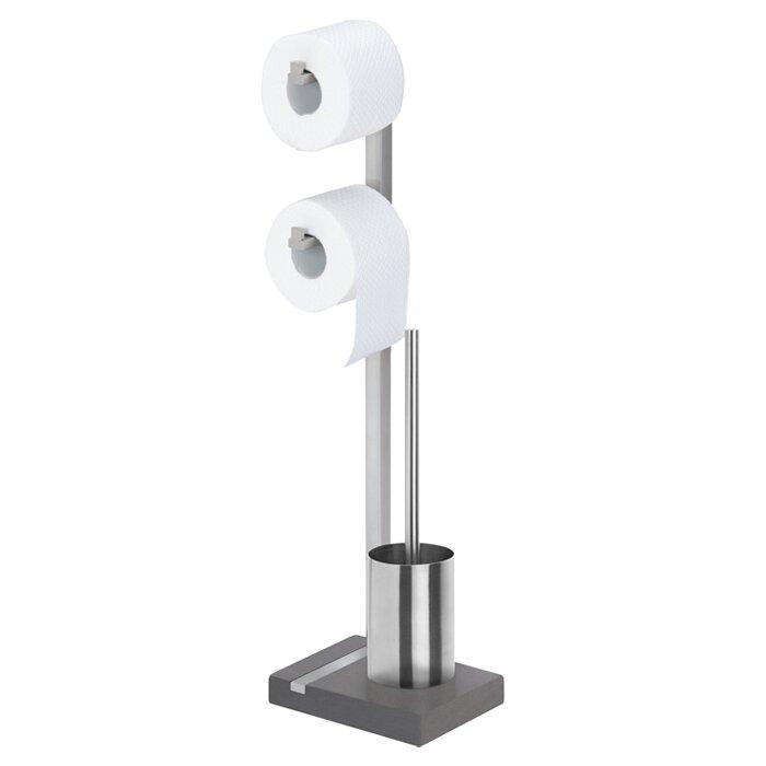 Blomus menoto free standing toilet roll and brush holder Glass toilet roll holder