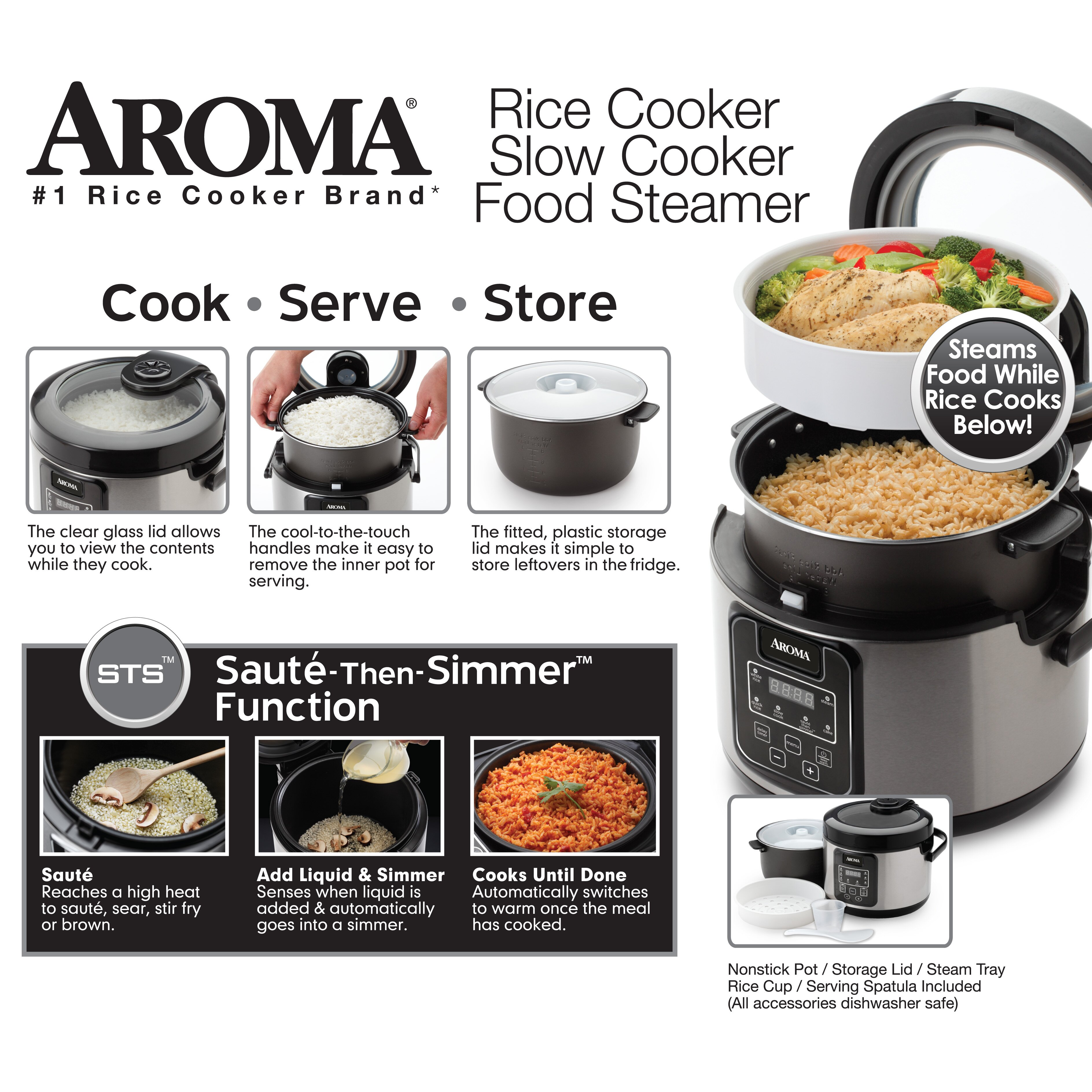 Cooks Brand Kitchen Appliances Aroma 16 Cup Slow Cooker Food Steamer And Rice Cooker Reviews