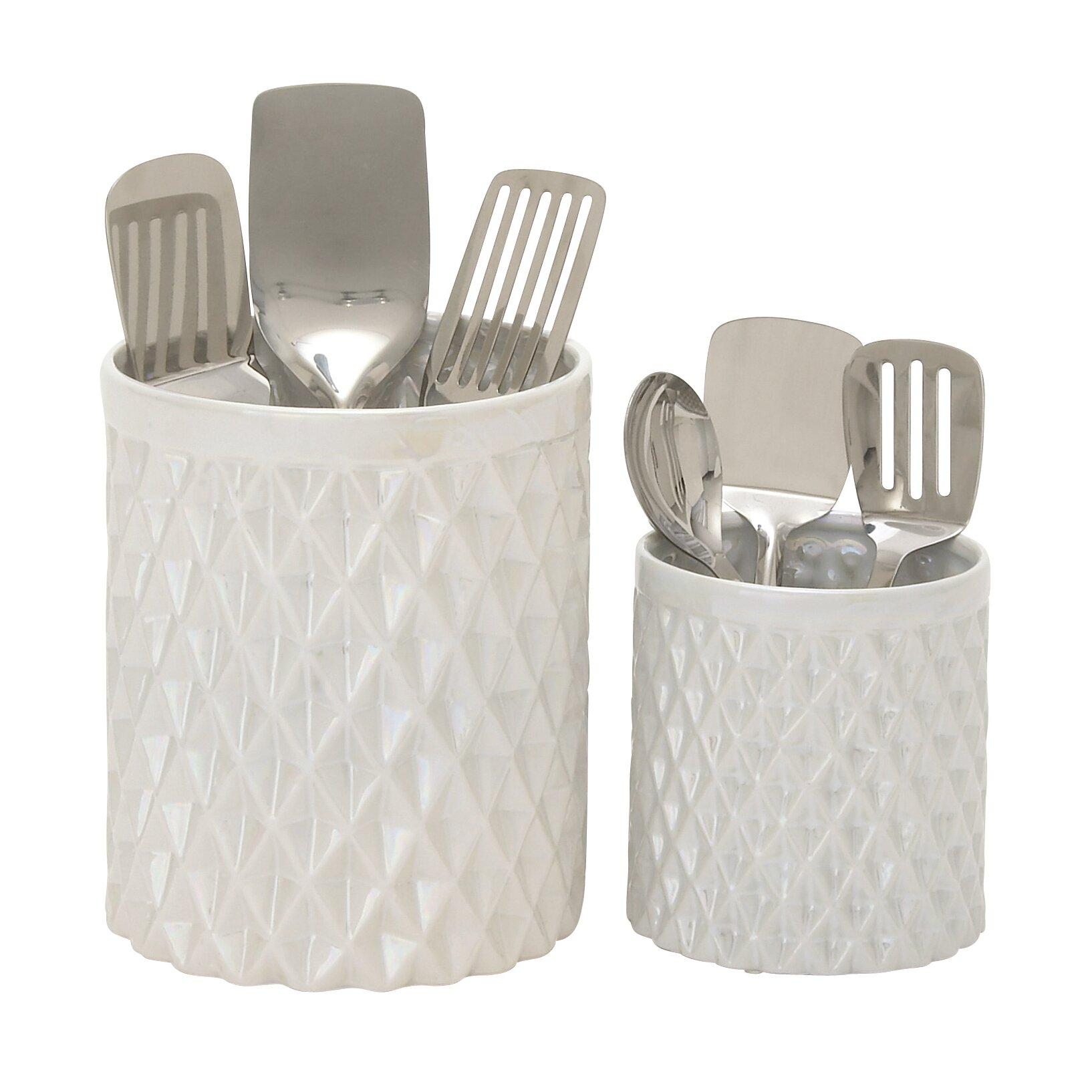Kitchen Utensil Holder Woodland Imports 2 Piece Kitchen Utensil Holder Set Reviews